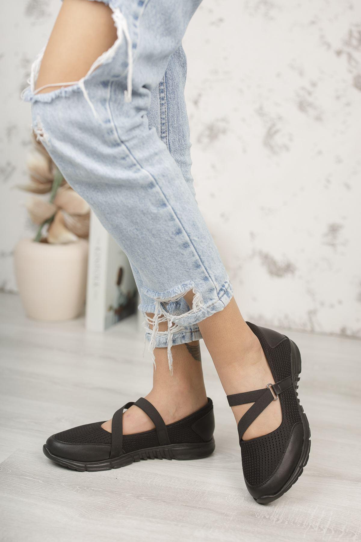 Kadın Rivers Çapraz Bant Detaylı Siyah Günlük Ayakkabı