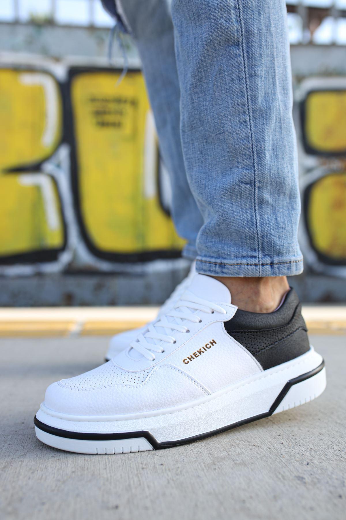 Chekich CH075 Beyaz Taban Erkek Ayakkabı BEYAZ / SİYAH