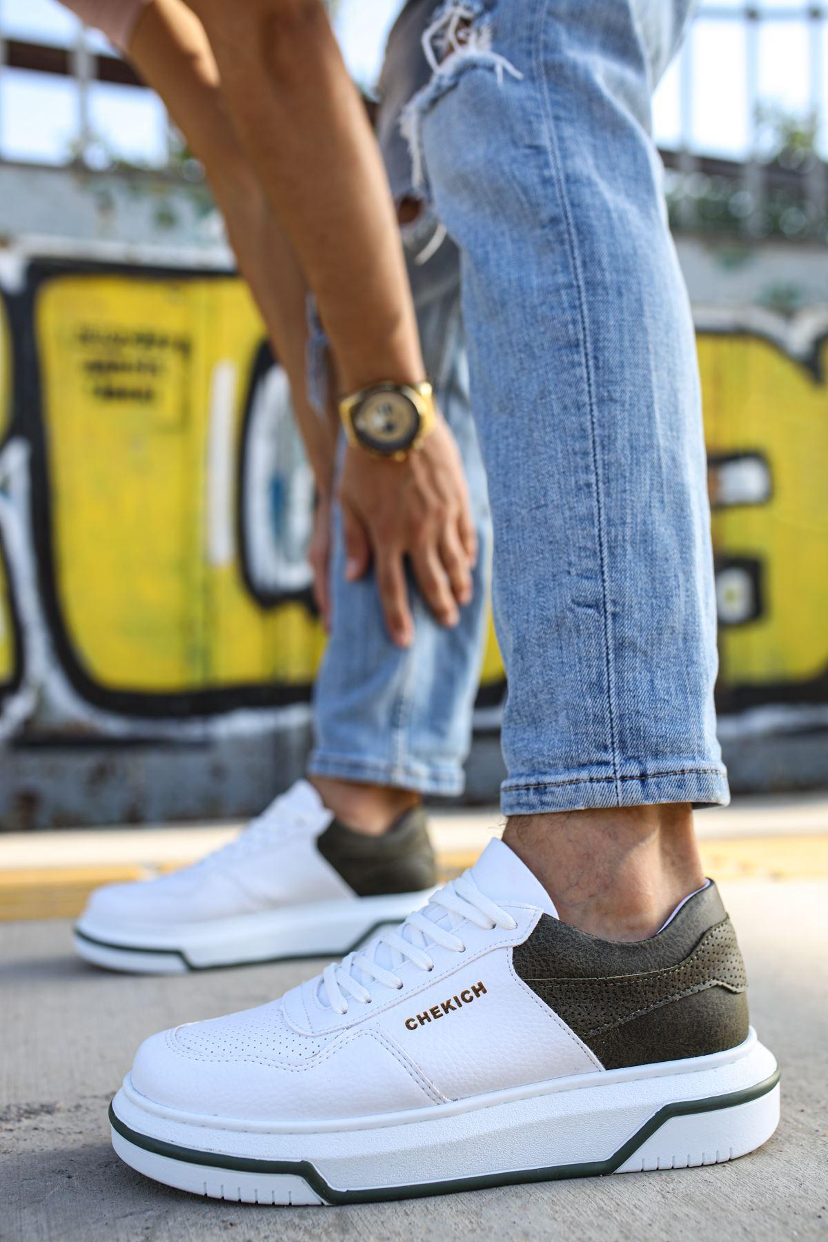 Chekich CH075 Beyaz Taban Erkek Ayakkabı BEYAZ / HAKİ