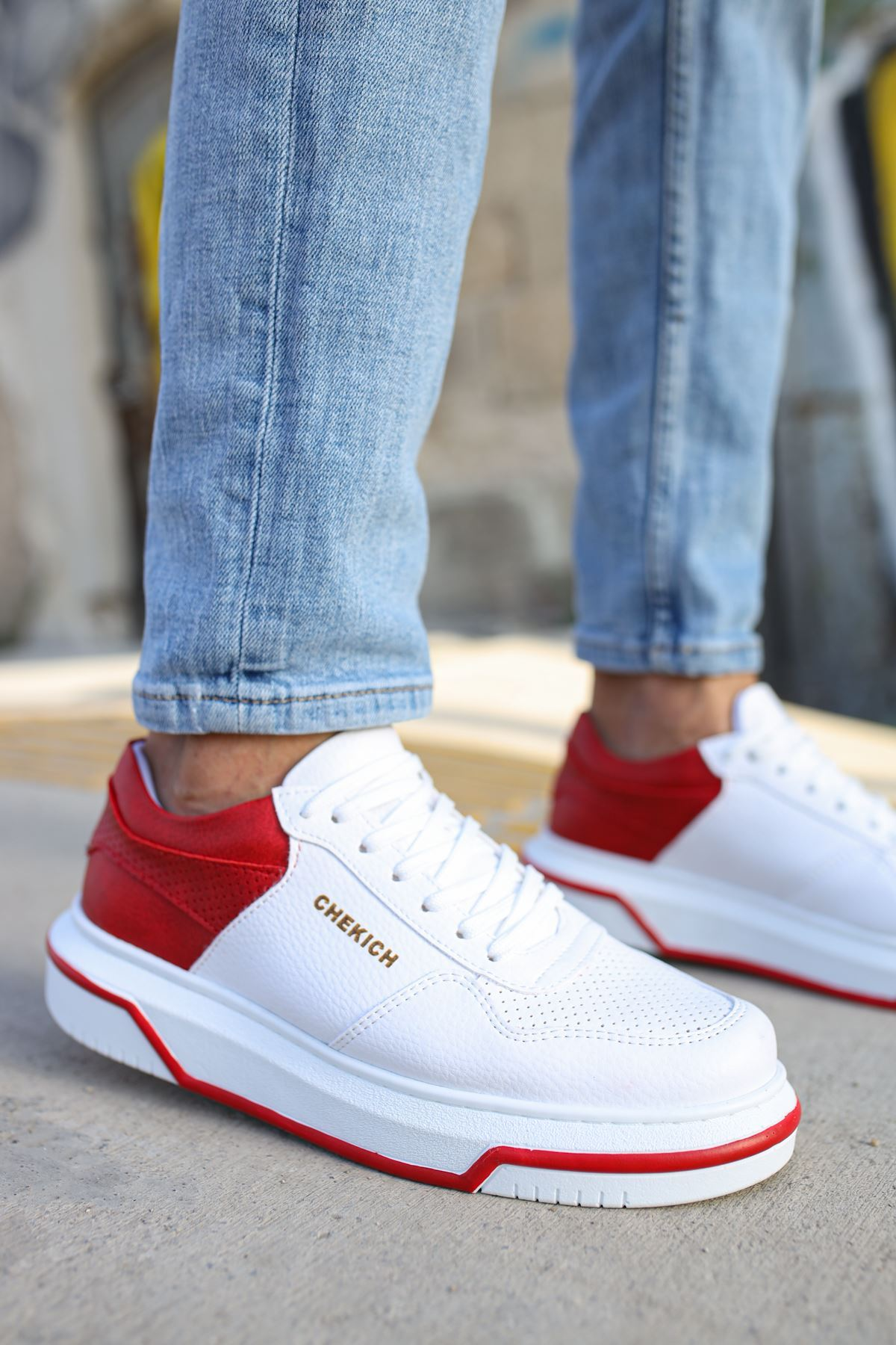 Chekich CH075 Beyaz Taban Erkek Ayakkabı BEYAZ / KIRMIZI
