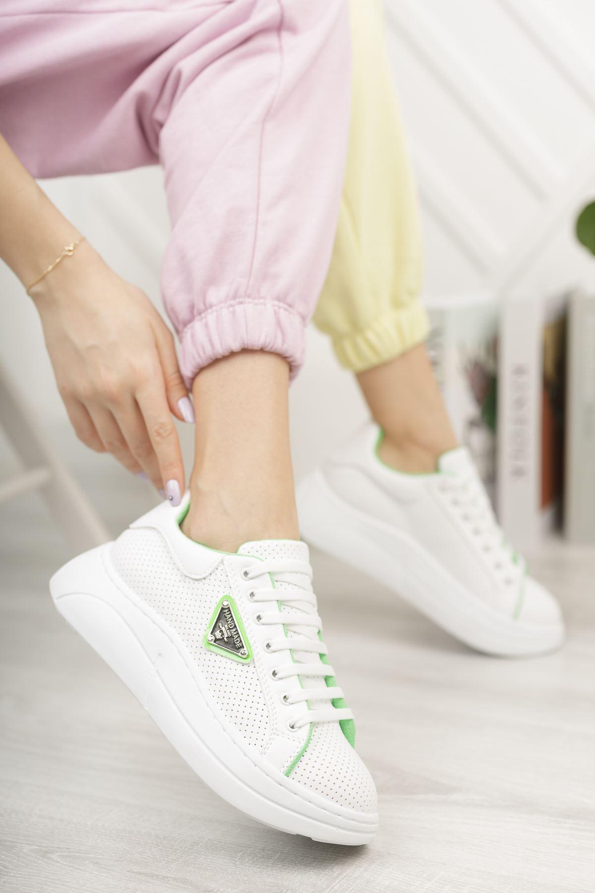 Kadın Lestas Kalın Taban Beyaz Yeşil Spor Ayakkabı Bağcıklı Mat Deri