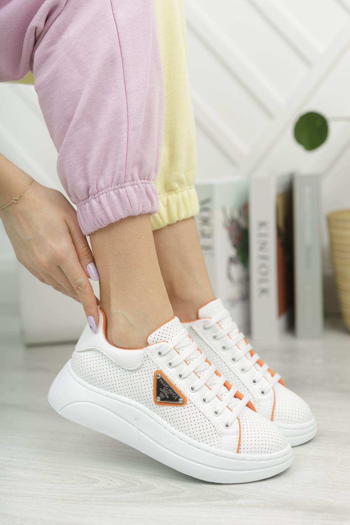Kadın Lestas Kalın Taban Beyaz Turuncu Spor Ayakkabı Bağcıklı Mat Deri