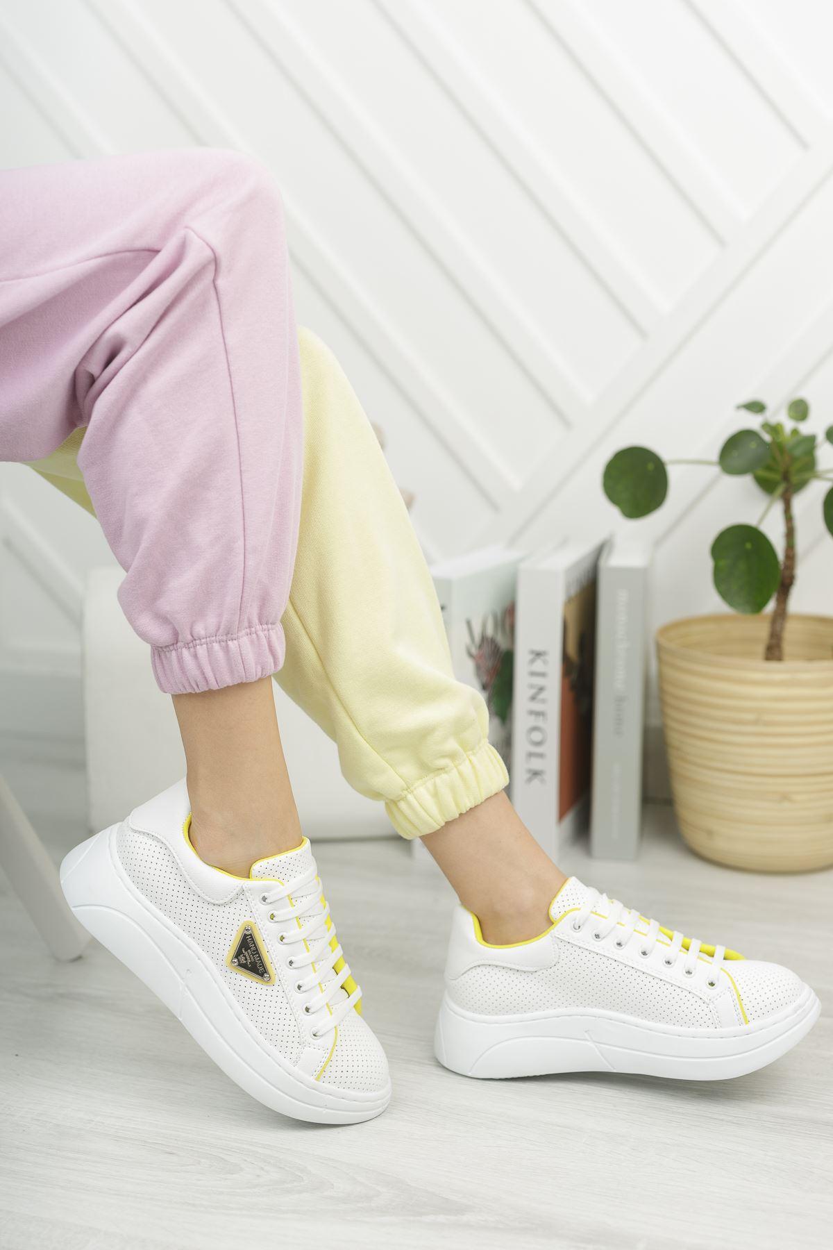 Kadın Lestas Kalın Taban Beyaz Sarı Spor Ayakkabı Bağcıklı Mat Deri