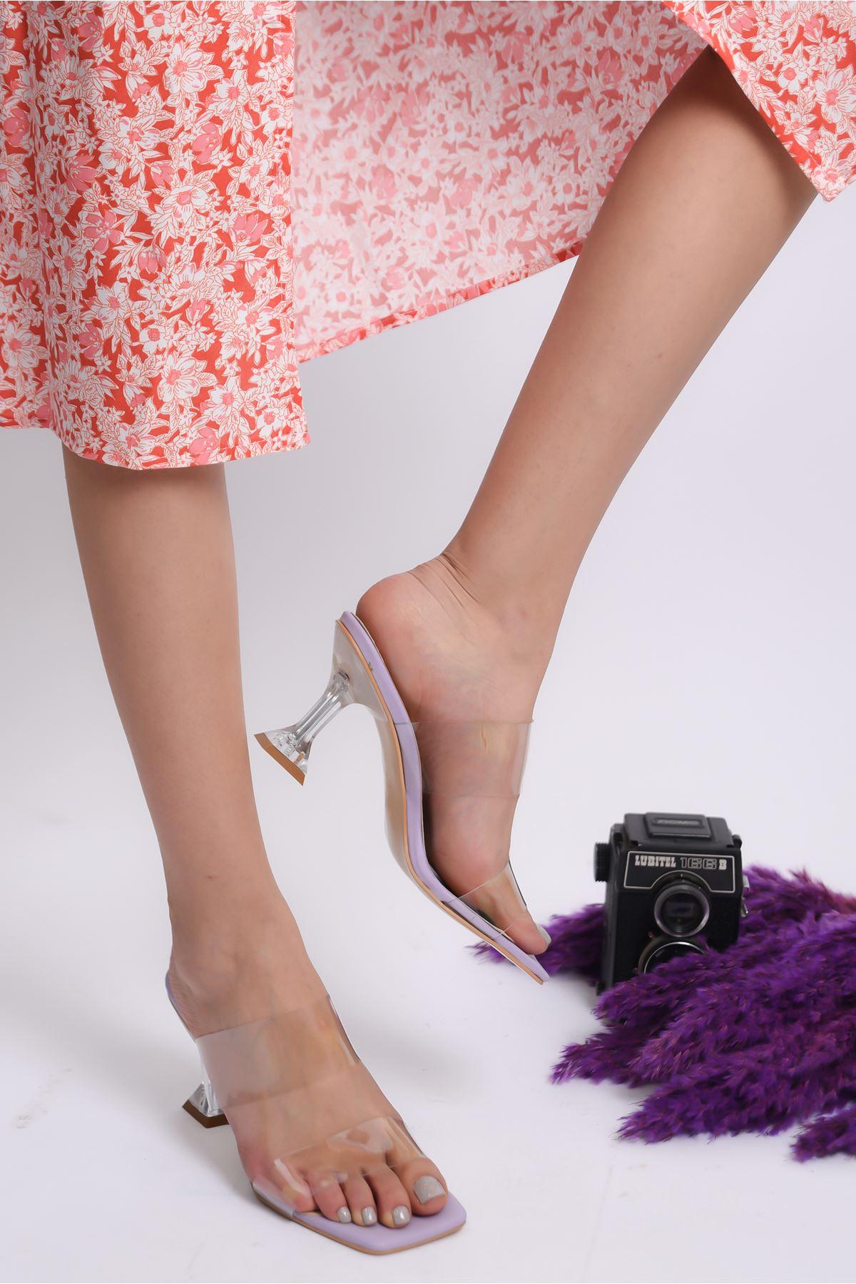 Kadın Runi Kadeh Topuklu Şefaf Bantlı Lila Topuklu Terlik