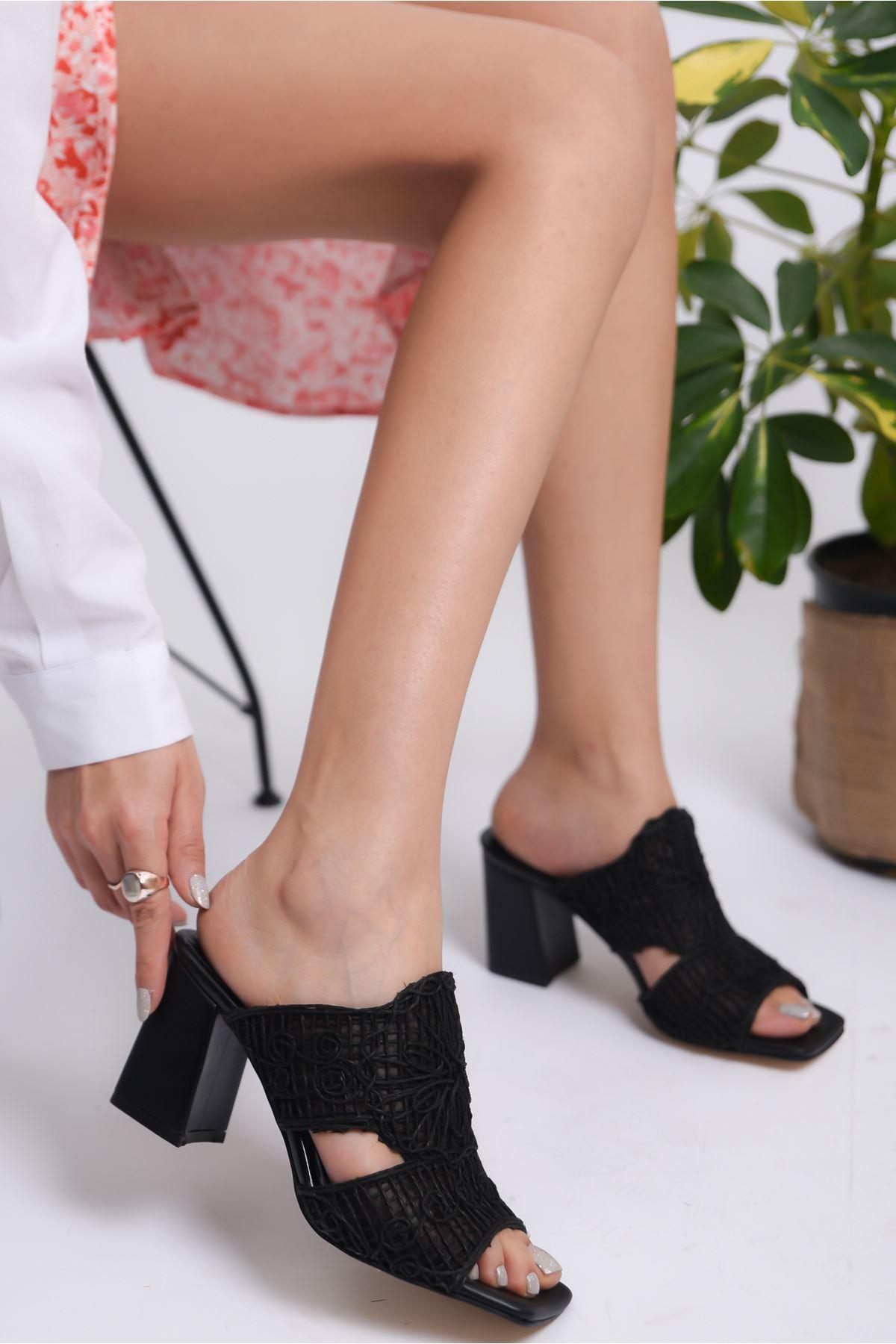 Kadın Darok Kısa Topuklu Örgü Detay Siyah Terlik
