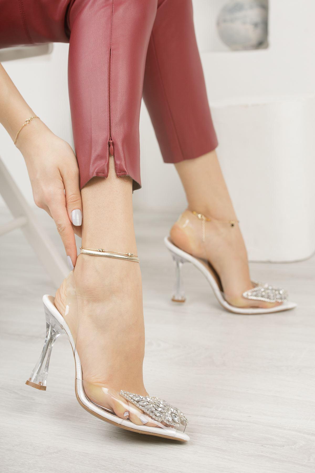 Kadın Armel Beyaz Şeffaf Deri Kelebek Taş Detaylı Yüksek Topuklu Şeffaf  Ayakkabı