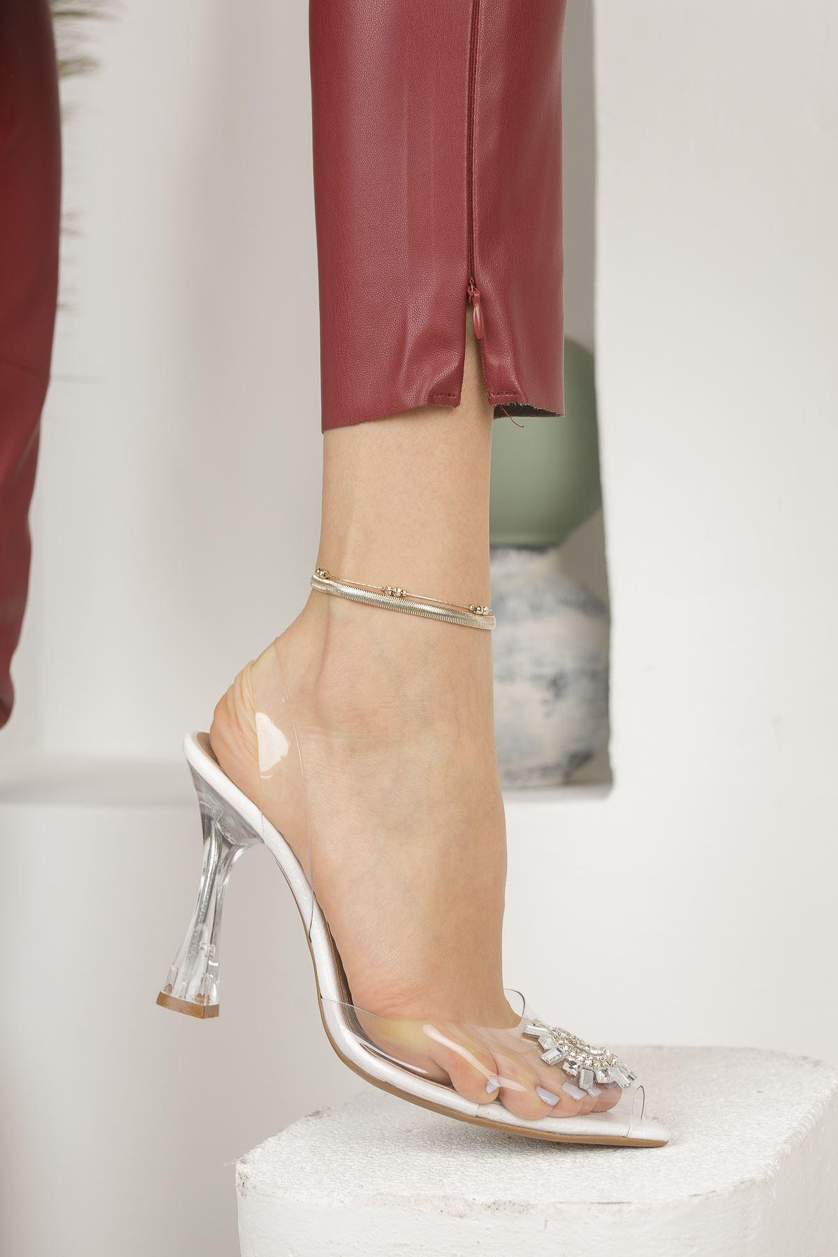 Kadın Askar Beyaz Şeffaf Deri Kristal Taş Detaylı Yüksek Topuklu Şeffaf  Ayakkabı