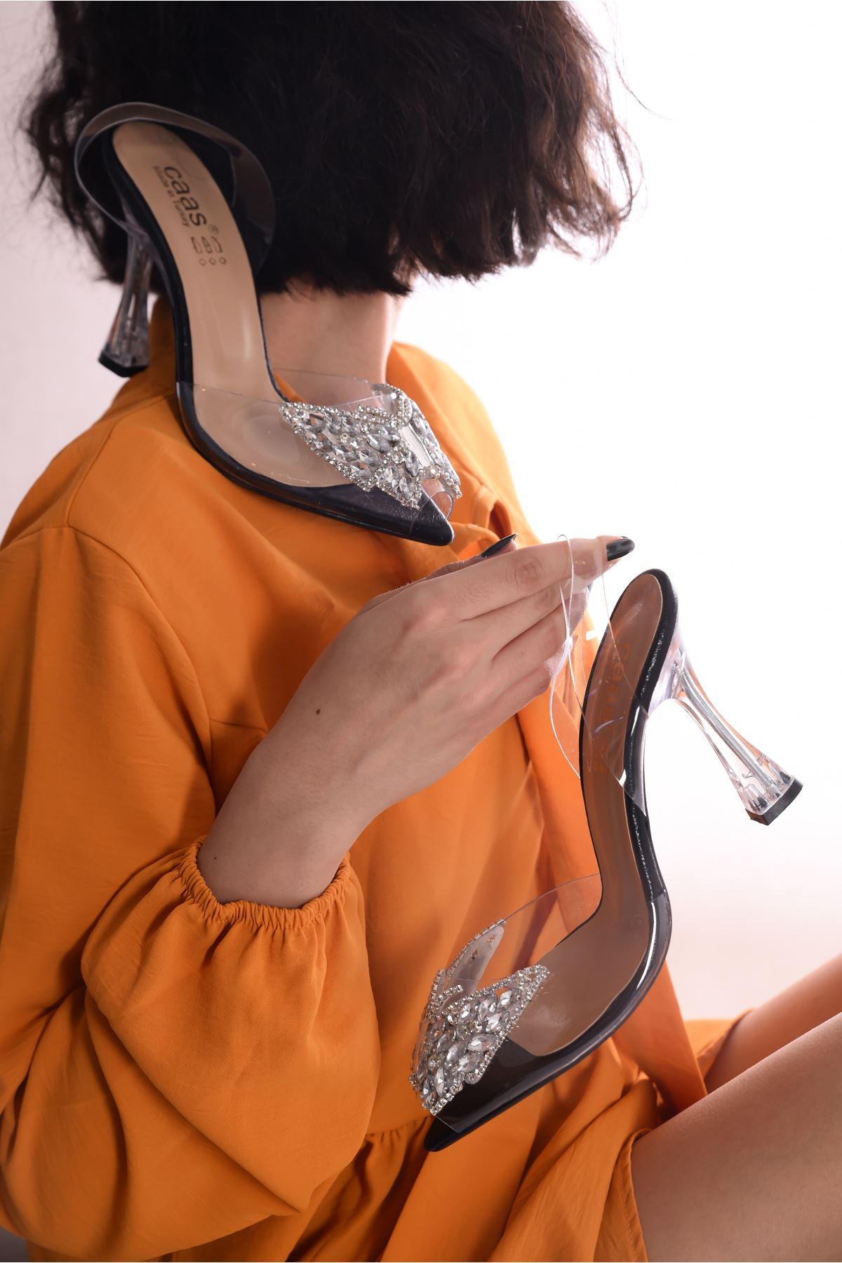 Kadın Armel Siyah  Şeffaf Deri Kelebek Taş Detaylı Yüksek Topuklu Şeffaf  Ayakkabı