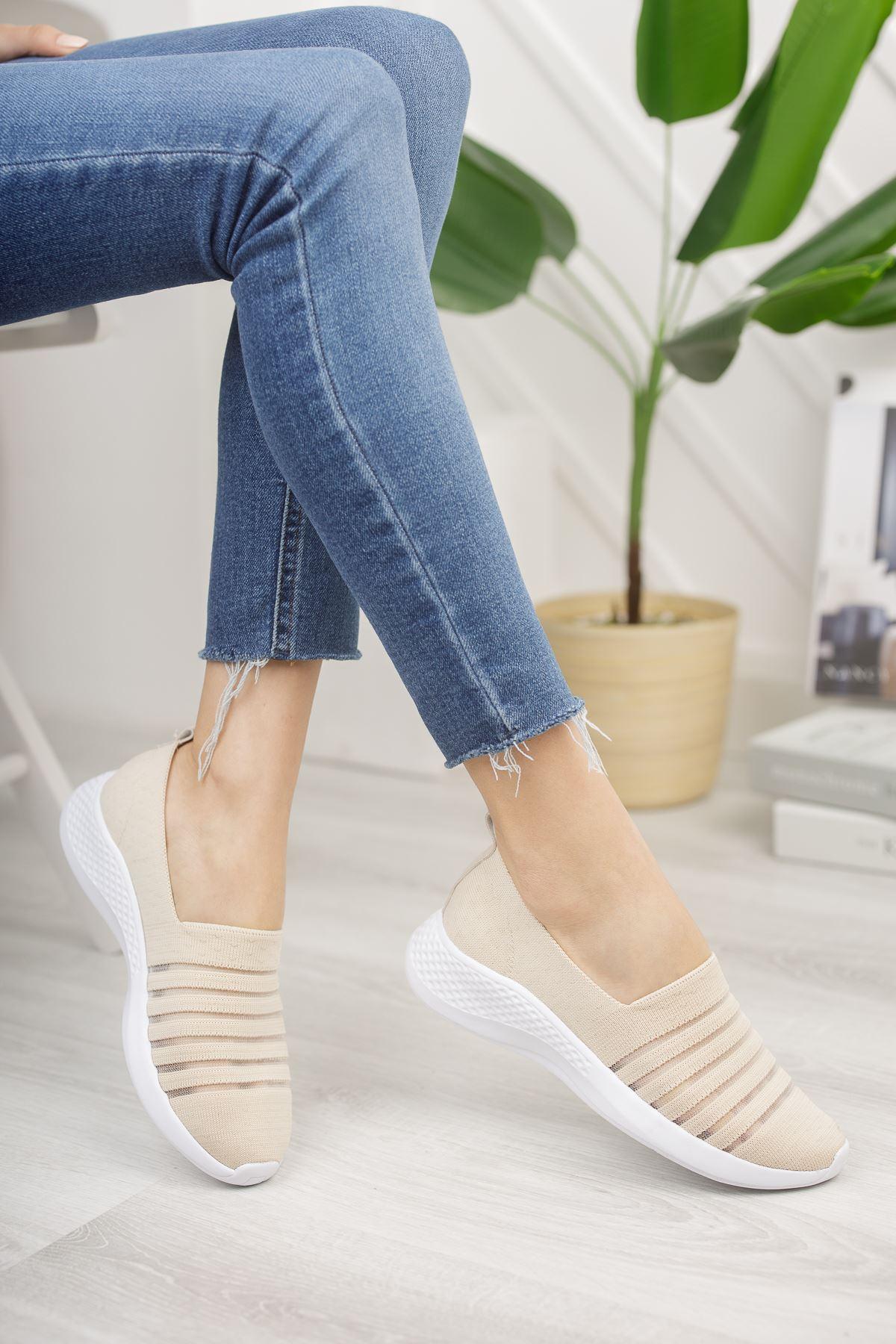 Kadın Leminol File Detaylı Günlük Ten Spor Ayakkabı