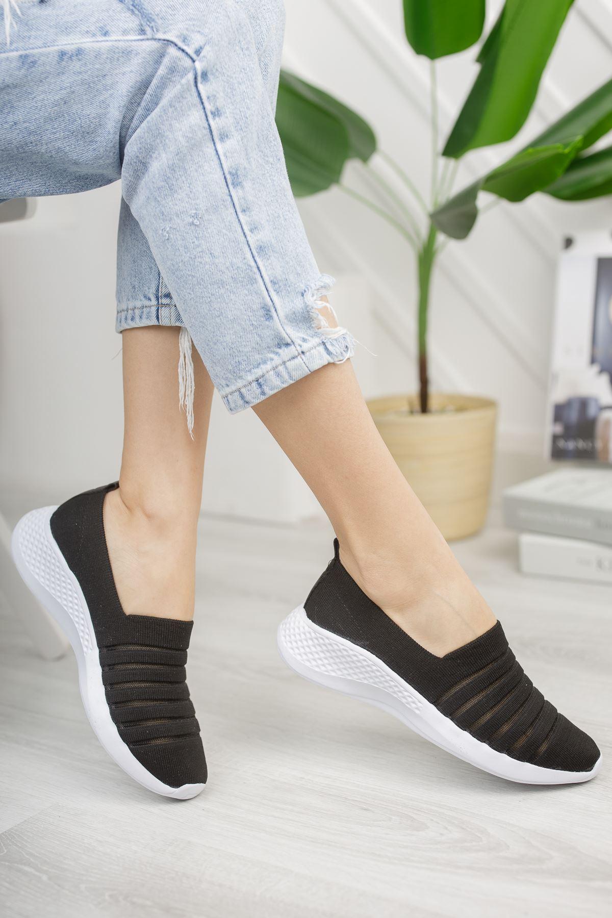 Kadın Leminol File Detaylı Günlük Siyah Spor Ayakkabı