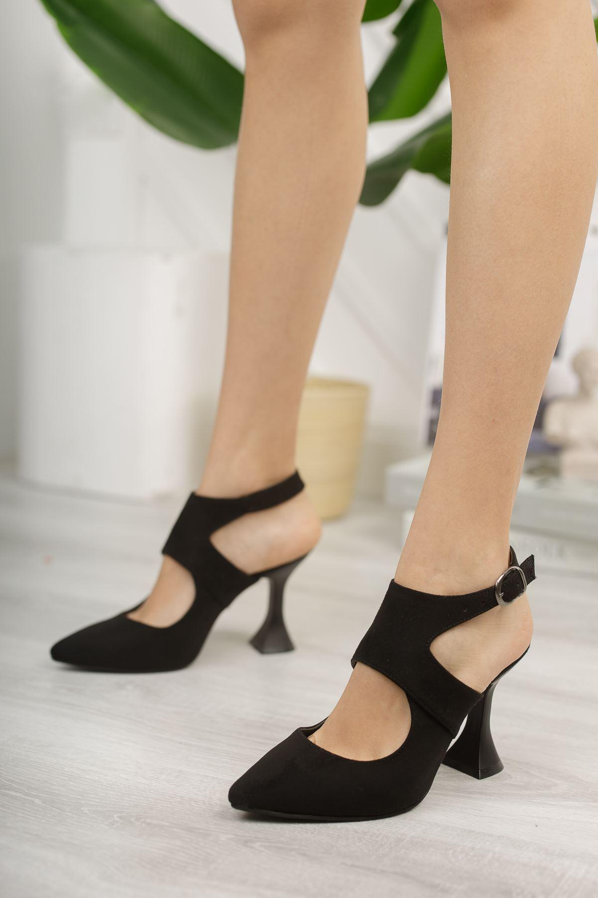 Kadın Forever Sivri Burun Yüksek Topuklu Siyah Süet Ayakkabı
