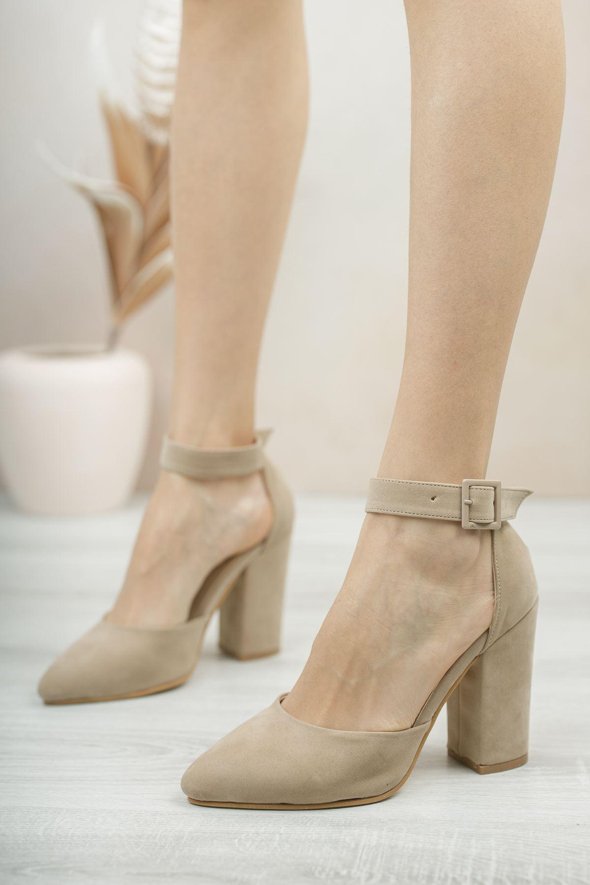 Kadın Benedik Sivri Burun Yüksek Topuklu Vizon Ayakkabı