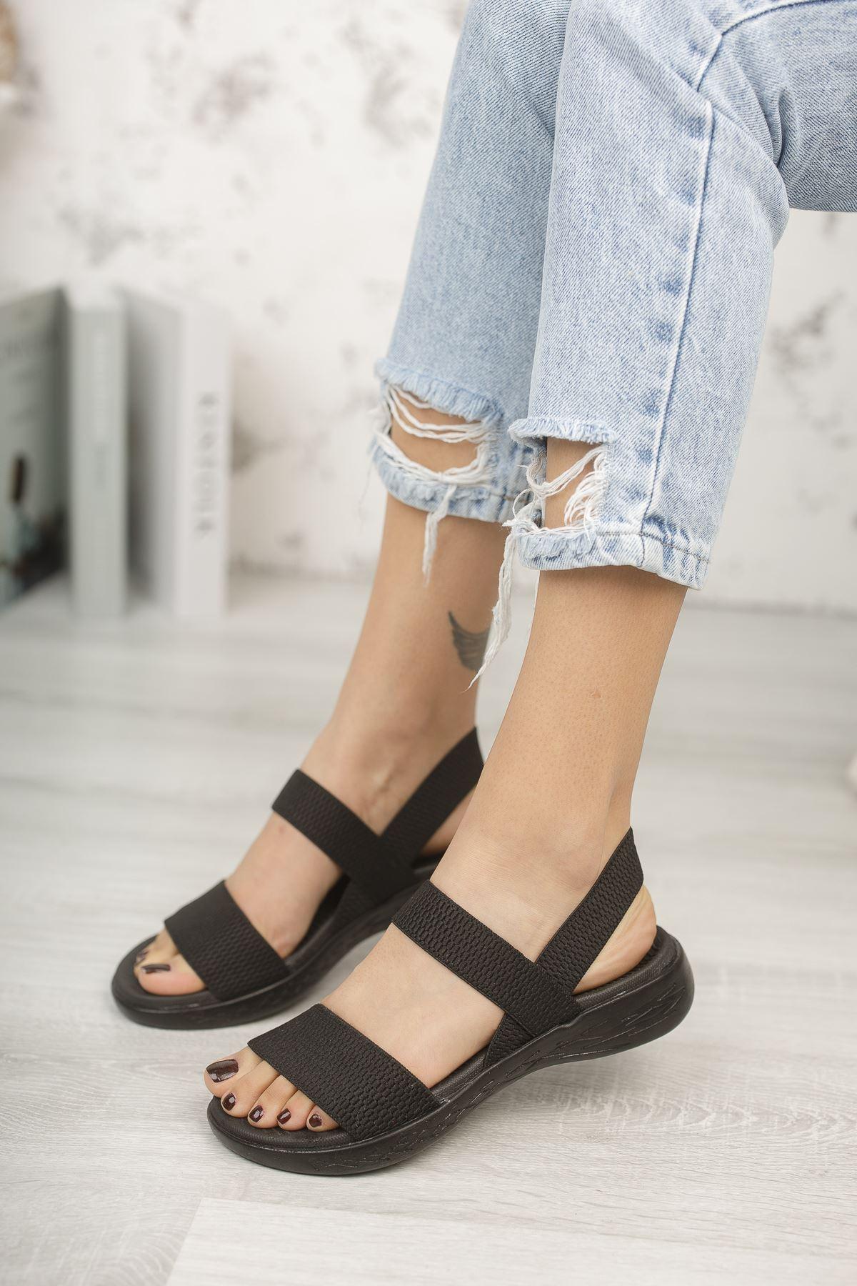 Kadın Poles Lastik Detaylı Siyah Sandalet