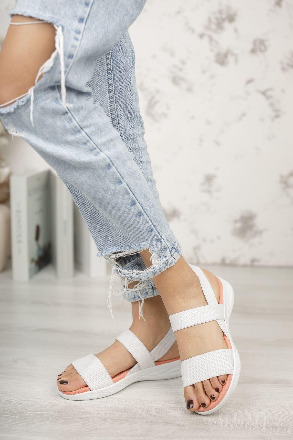 Kadın Poles Lastik Detaylı Pudra Beyaz Sandalet
