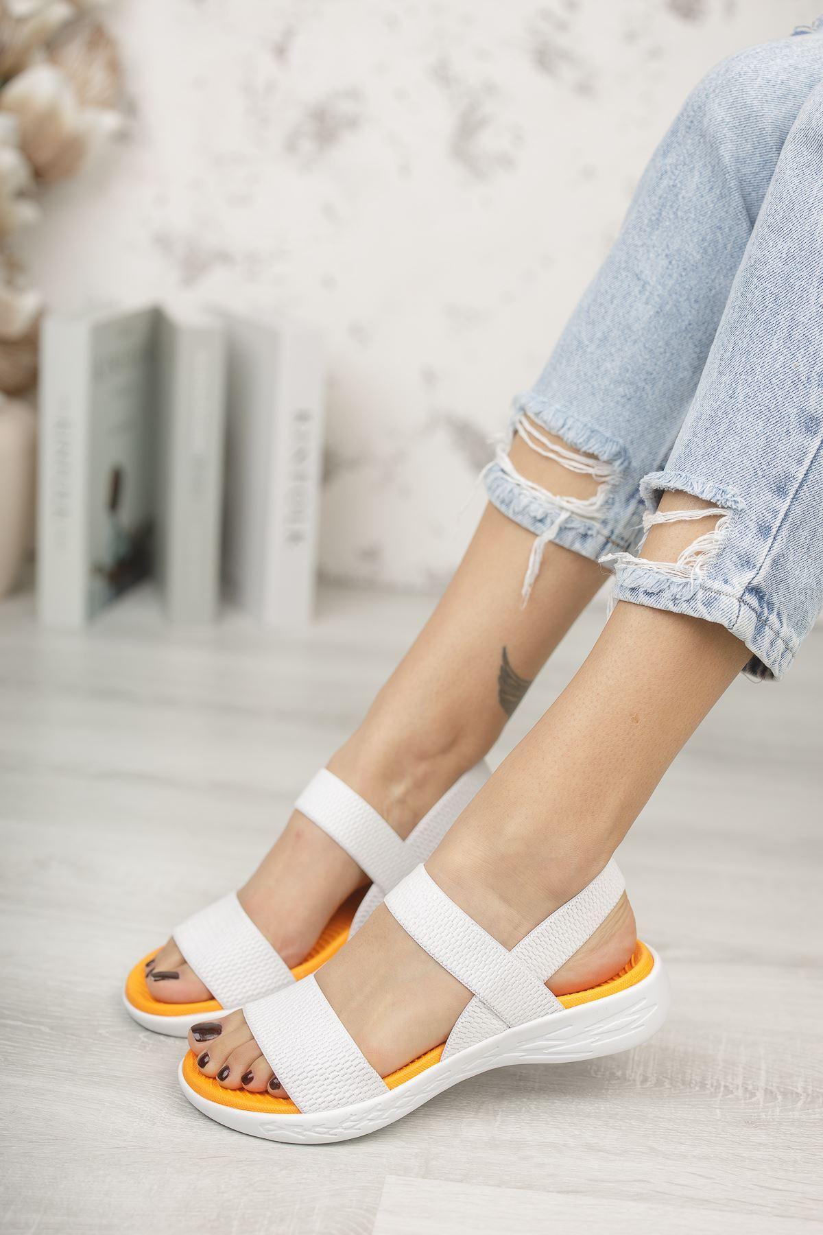 Kadın Poles Lastik Detaylı Beyaz Sandalet