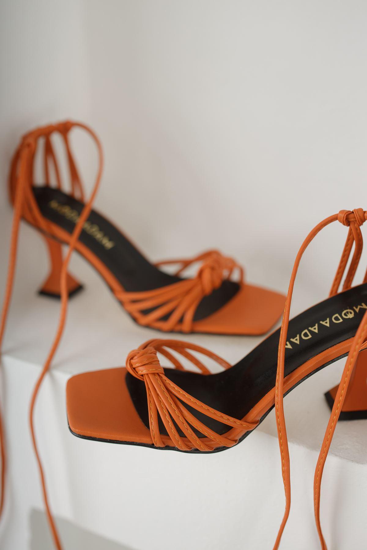 Kadın Gladis Mat Turuncu Topuklu Ayakkabı Deri Bilekten Bağlama Detaylı