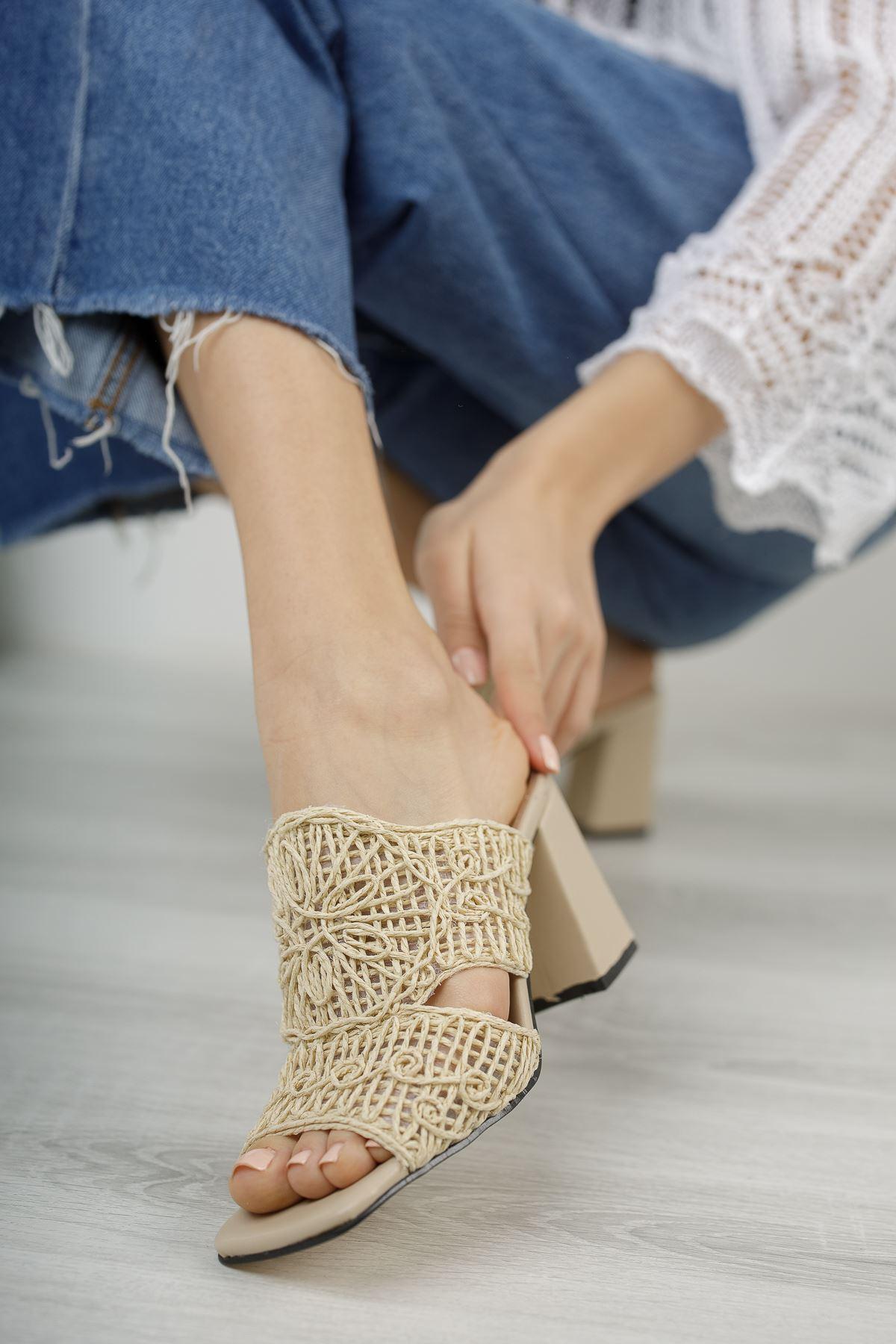 Kadın Darok Kısa Topuklu Örgü Detay Nude Terlik