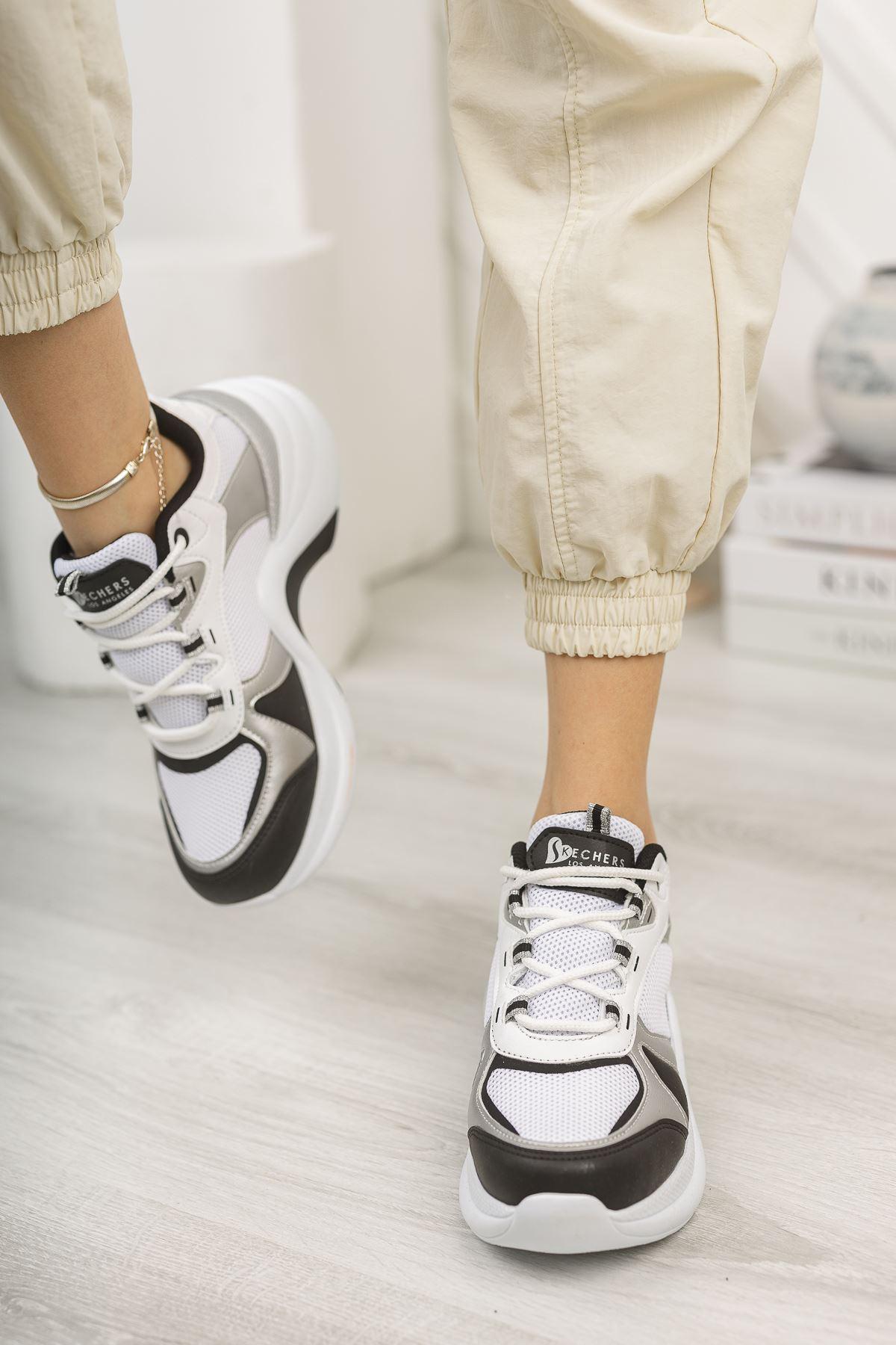 Kadın Sesa Kalın Taban Beyaz Siyah Spor Ayakkabı