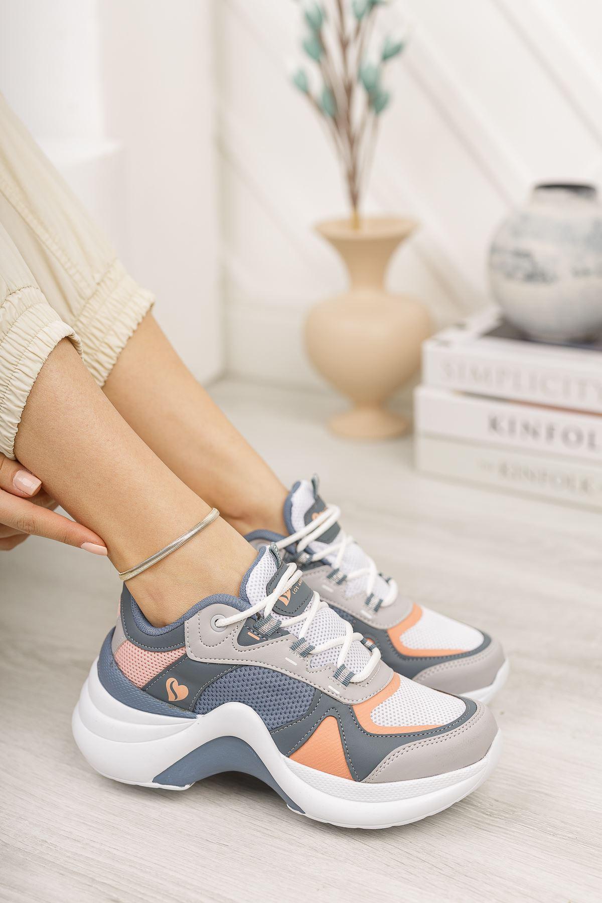 Kadın Sesa Kalın Taban Pudra Beyaz Spor Ayakkabı
