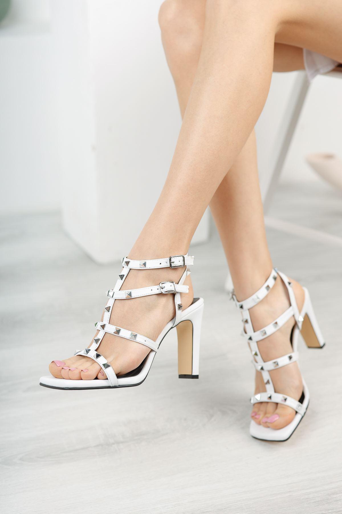 Kadın Vensi Trok Detaylı Beyaz Topuklu Ayakkabı