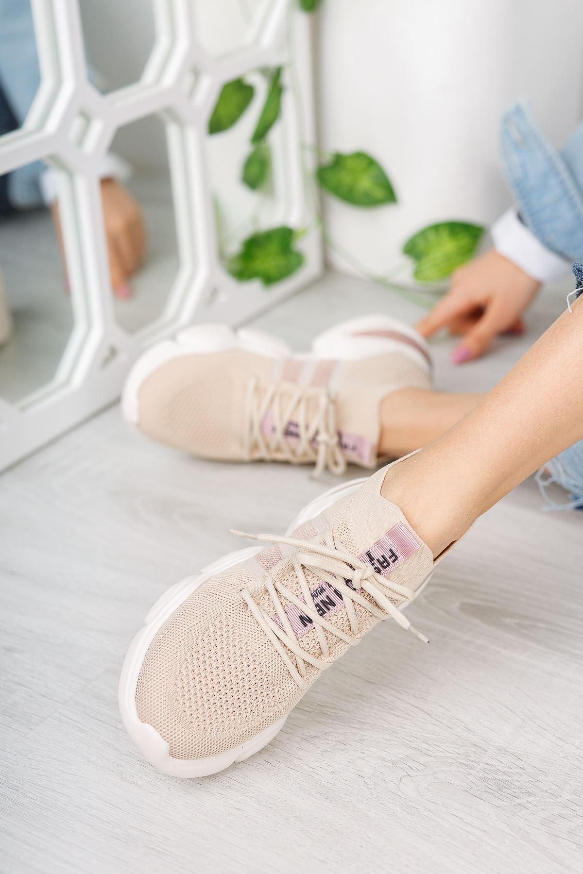Kadın Sigma Triko Spor Ayakkabı Vizon