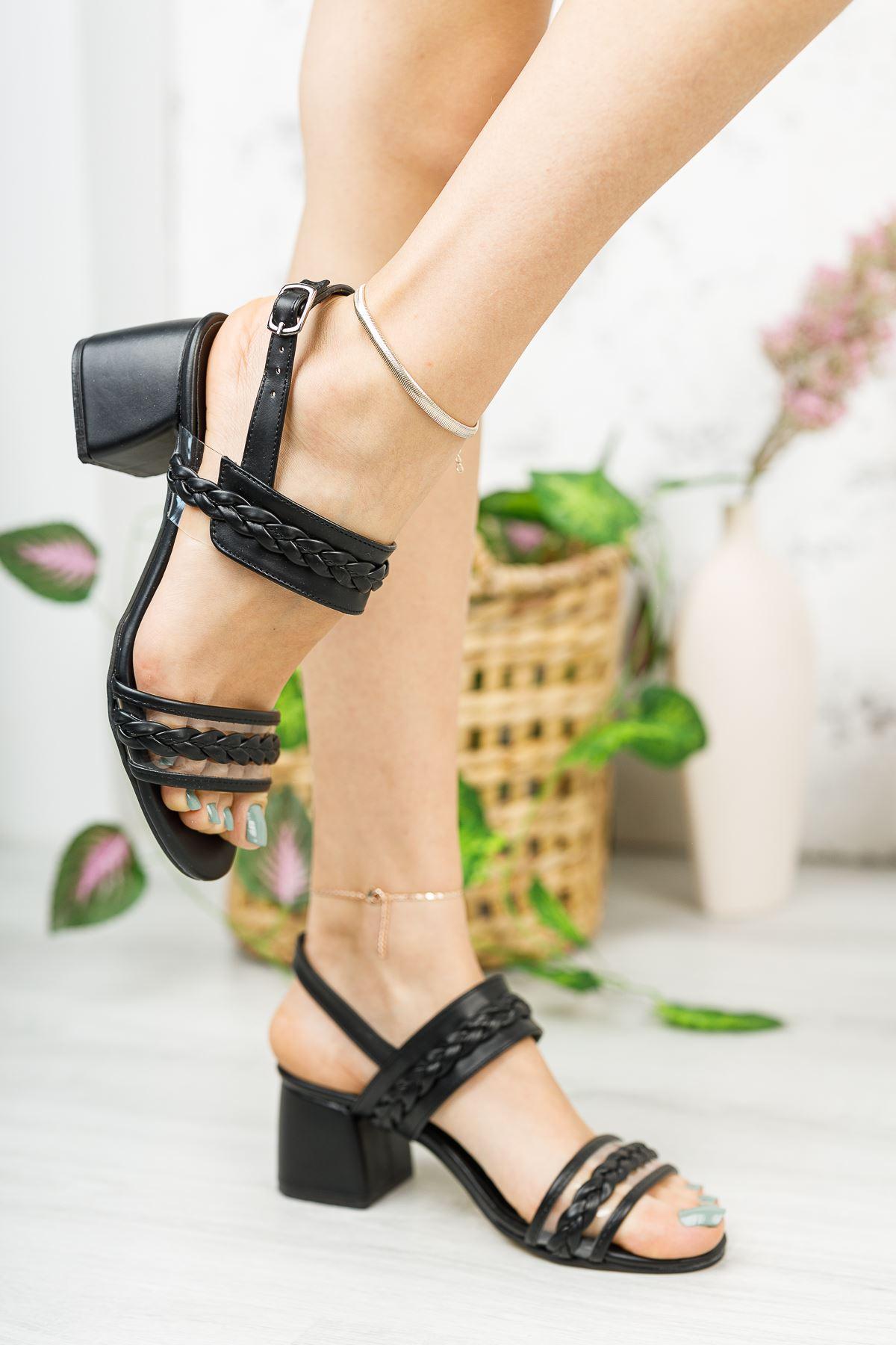 Kadın Yanna Örgü Detay Mat Deri Siyah Kısa Topuklu Ayakkabı