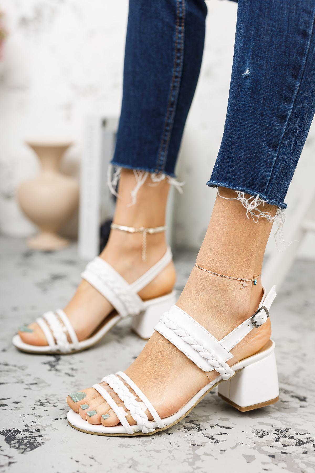 Kadın Yanna Örgü Detay Mat Deri Beyaz Kısa Topuklu Ayakkabı