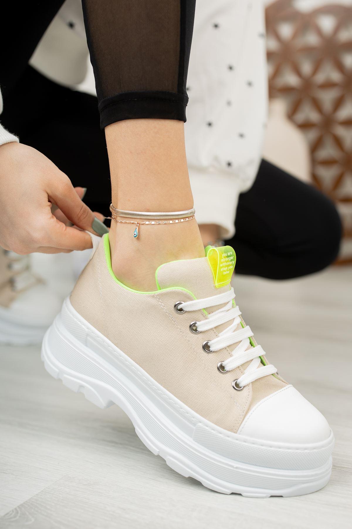 Kadın Toden Tekstil Bağcık Detaylı Kalın Taban Ten  Spor Ayakkabı