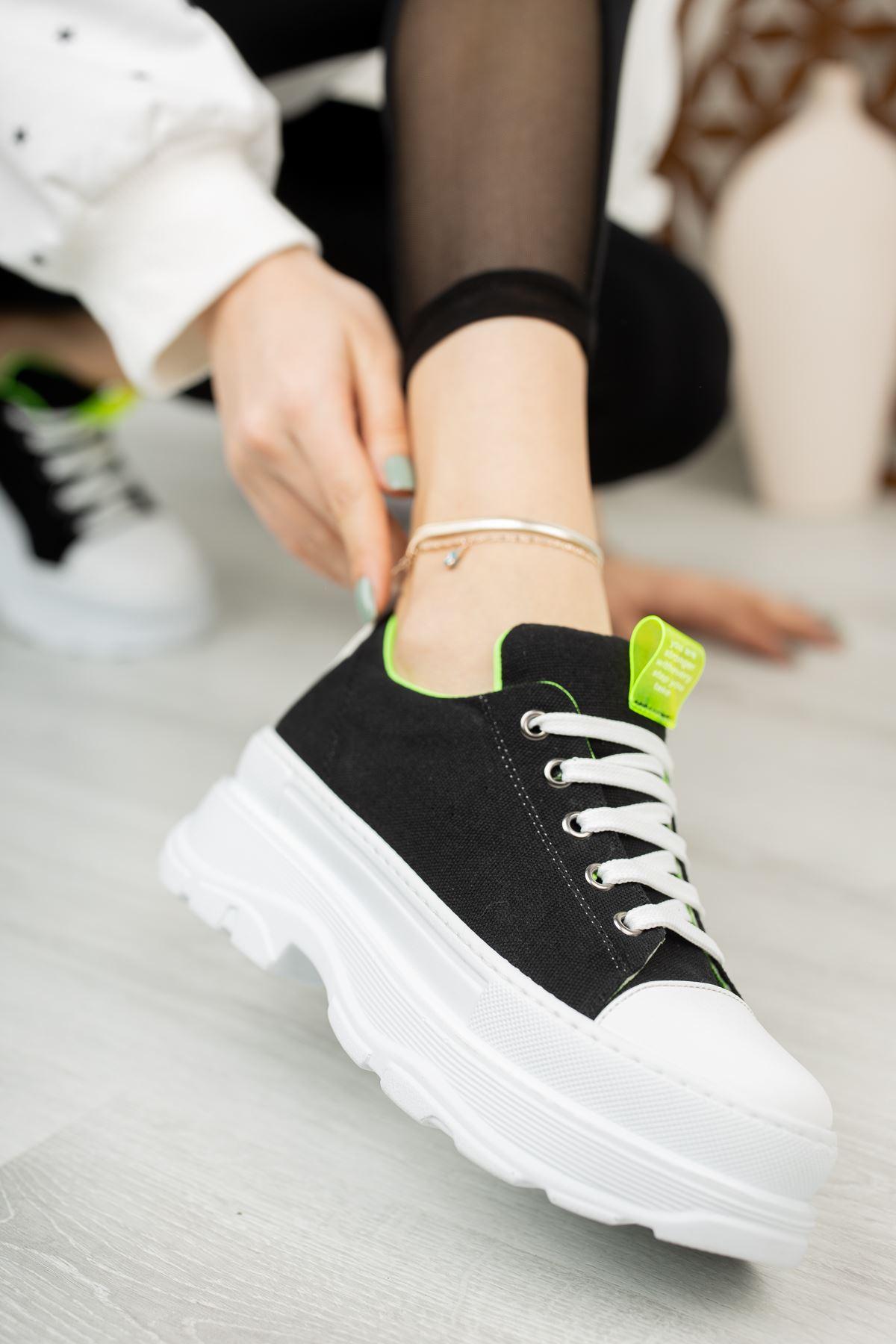 Kadın Toden Tekstil Bağcık Detaylı Kalın Taban Siyah Spor Ayakkabı