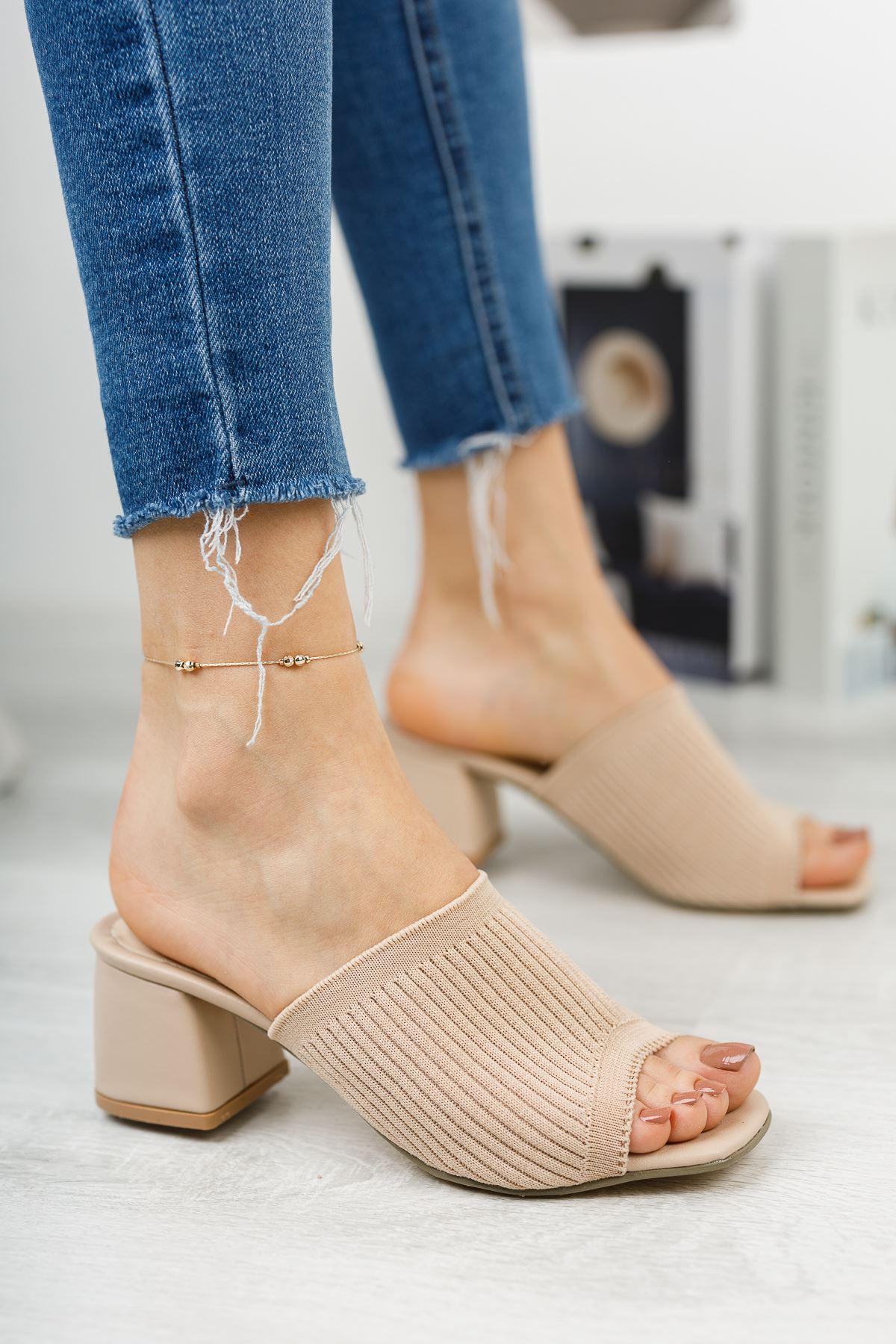 Kadın Salos Kısa Topuklu Ten Triko Terlik