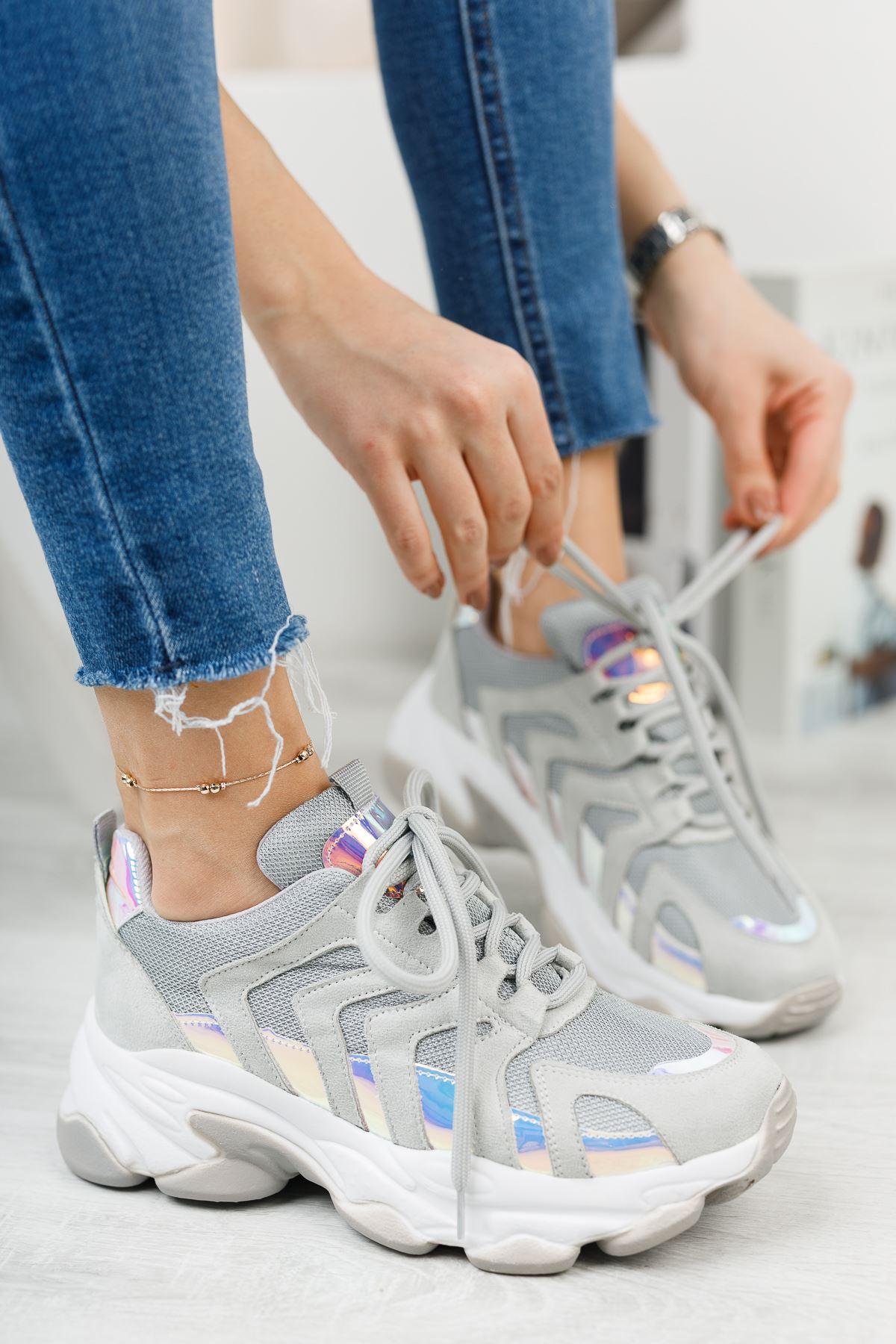 Kadın Sport Kalın Taban Spor Ayakkabı Gri