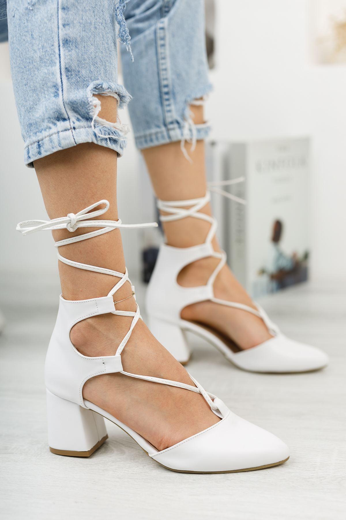 Kadın Kathi Hafif Topuklu Ayakkabı Mat Deri Beyaz