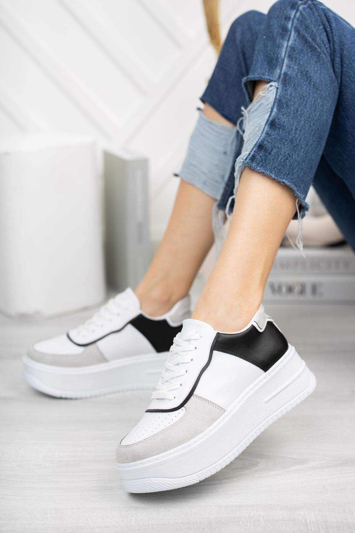 Kadın Rascon Kalın Taban Bağcıklı Siyah Beyaz  Spor Ayakkabı