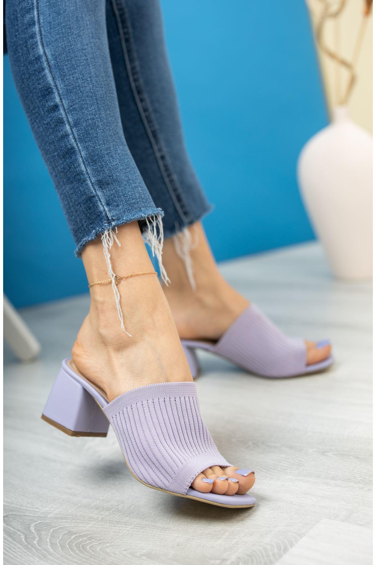 Kadın Salos Kısa Topuklu Lila Triko Terlik