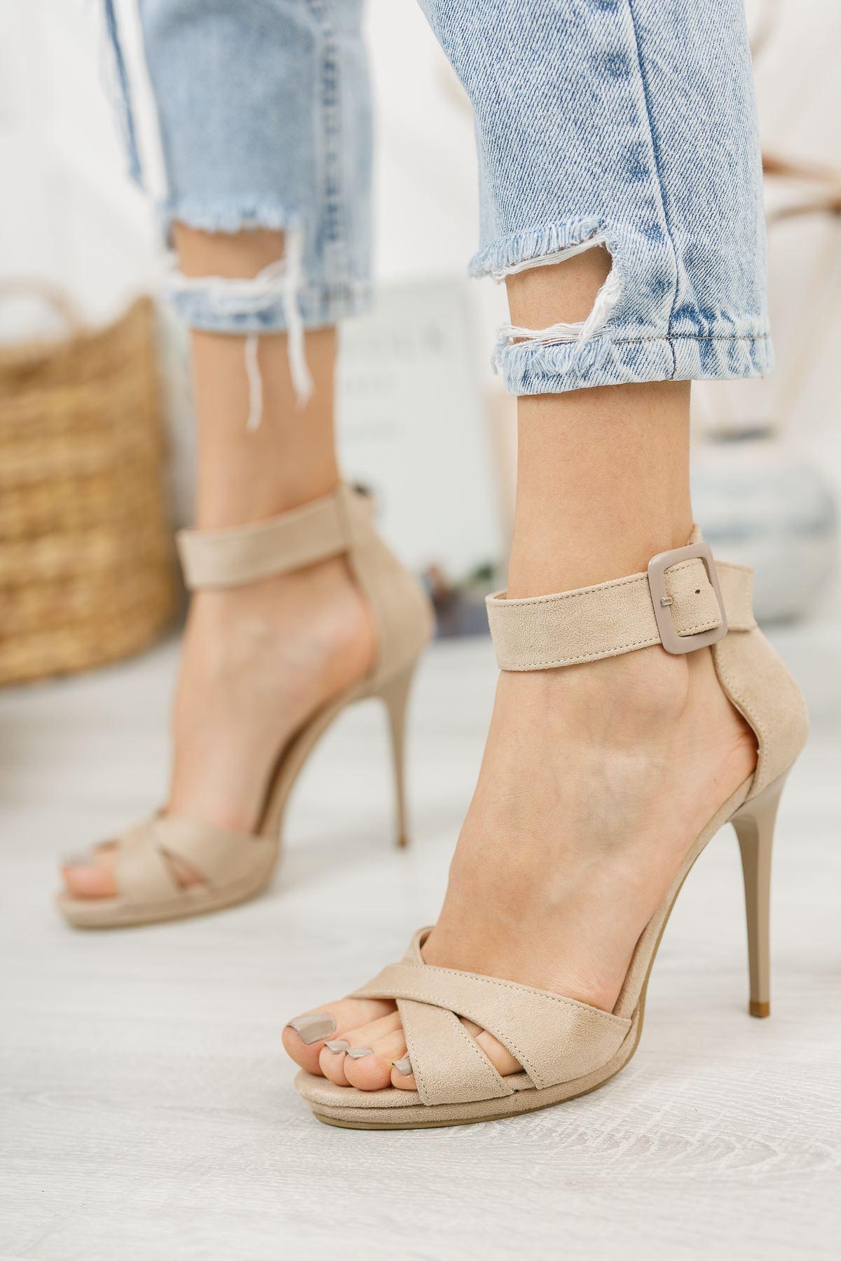 Kadın Cesta Toka Detaylı Ten  Süet Topuklu Ayakkabı