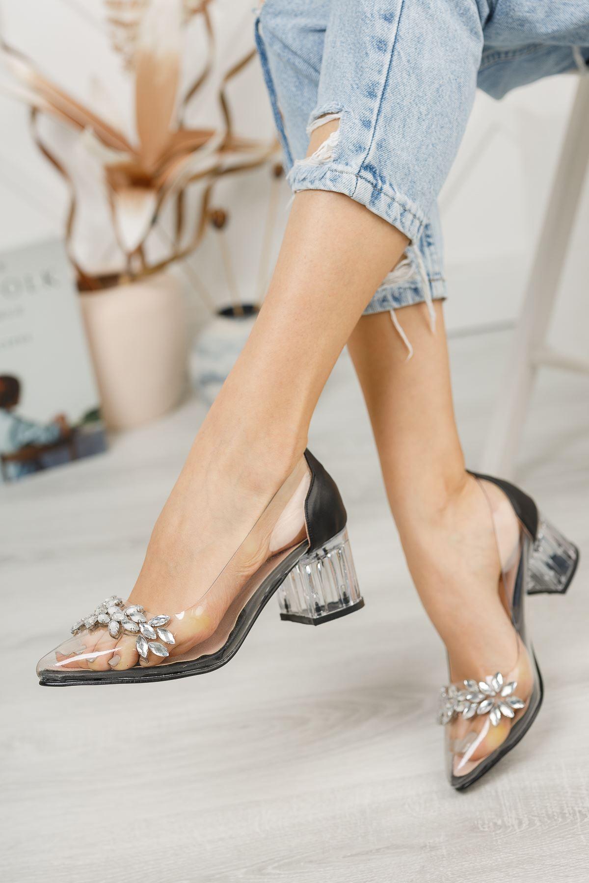 Kadın Sindi Taş Detaylı Siyah Şeffaf Topuklu Ayakkabı