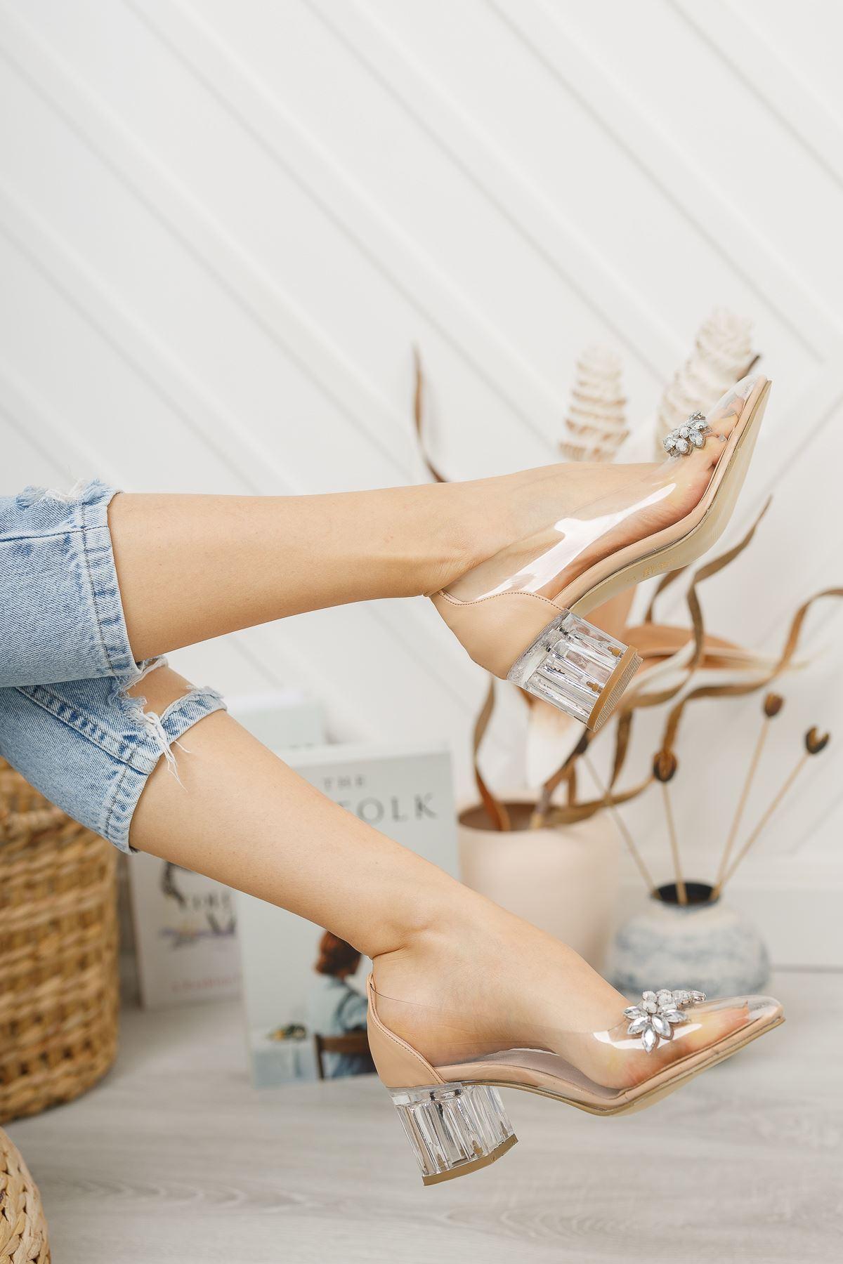 Kadın Sindi Taş Detaylı Nude Şeffaf Topuklu Ayakkabı