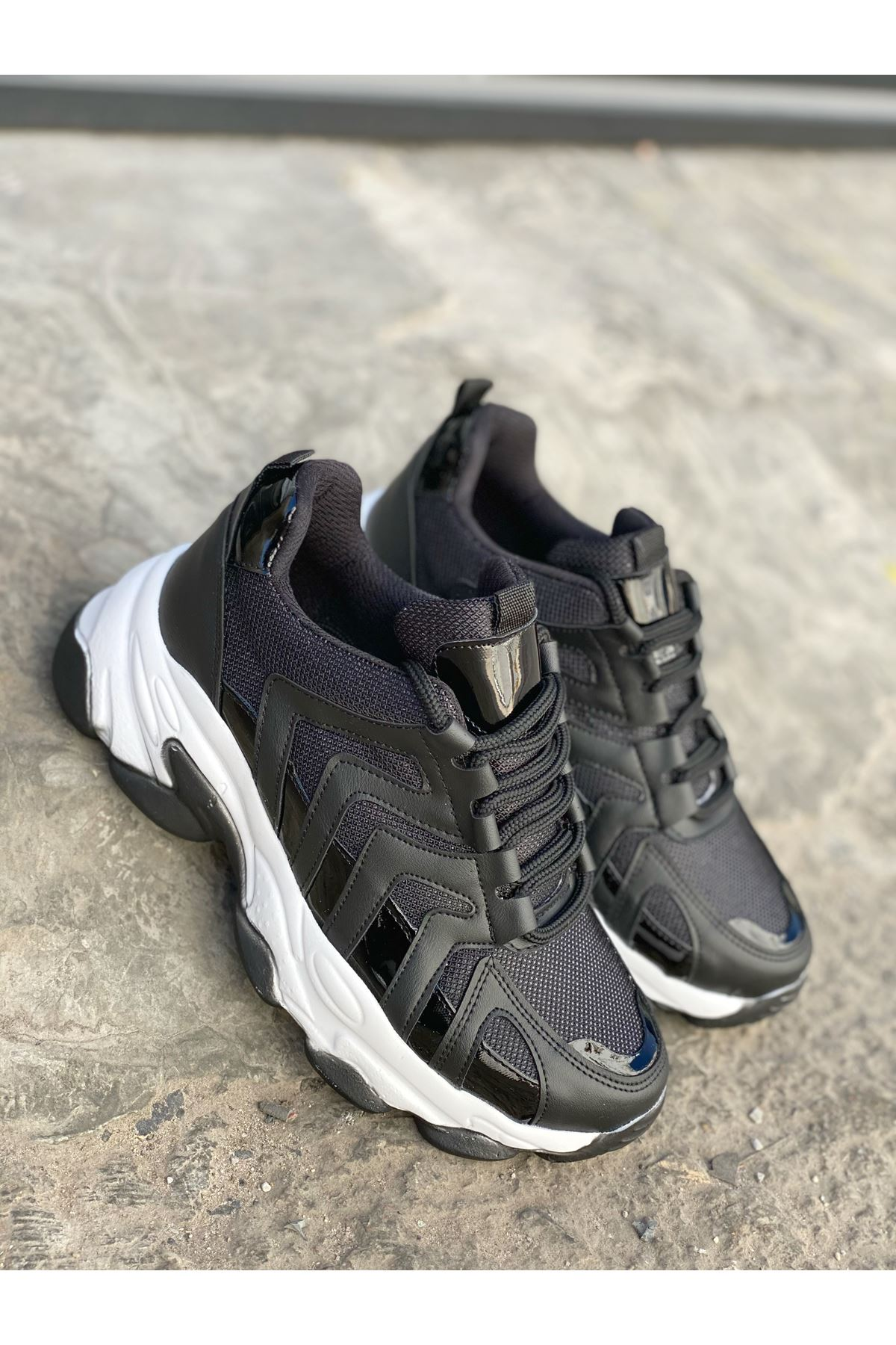 Kadın Sport Kalın Taban Düz siyah Spor Ayakkabı