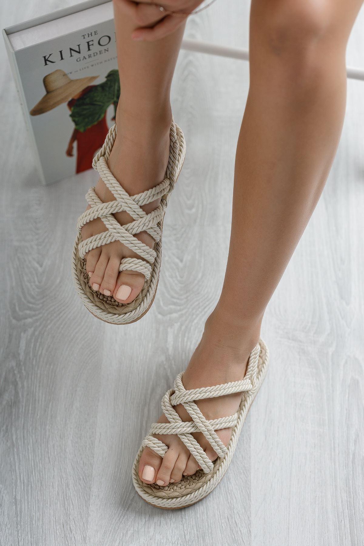 Kadın Minna Halat Sandalet Krem