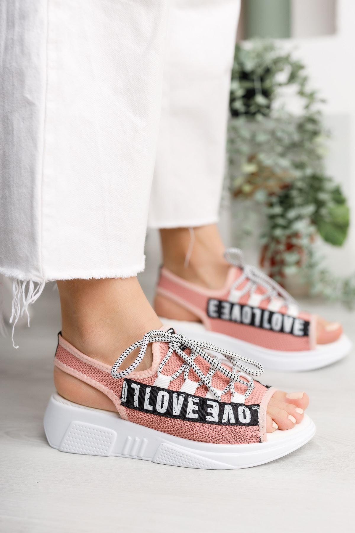 Kadın Love Sandalet Pudra