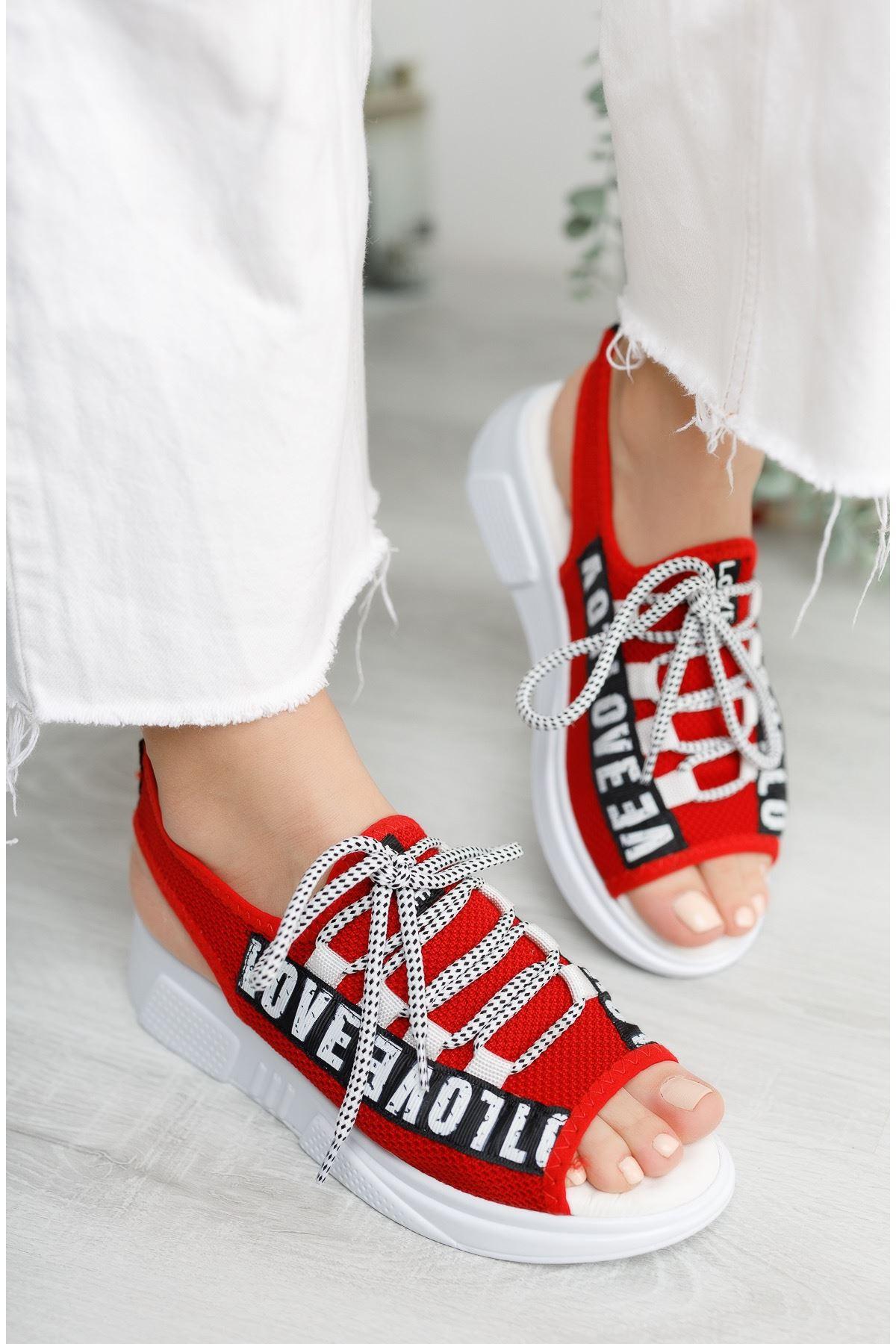 Kadın Love Sandalet Kırmızı