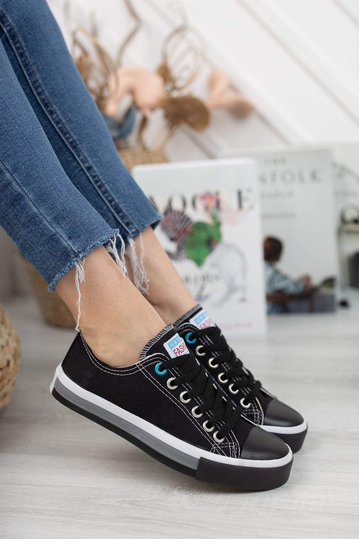 Kadın Yassen Siyah Spor Ayakkabı