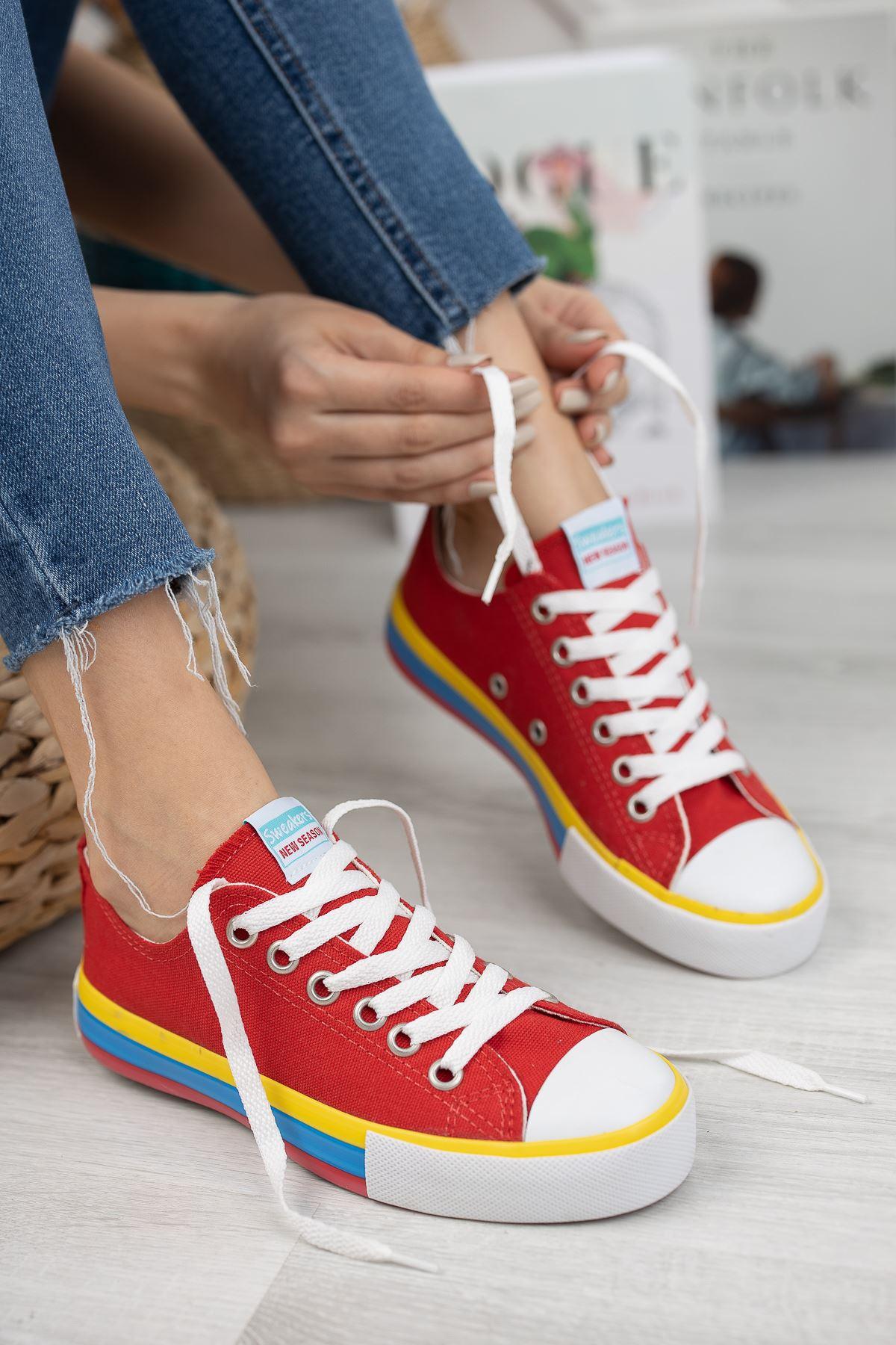 Kadın Yassen Kırmızı Spor Ayakkabı