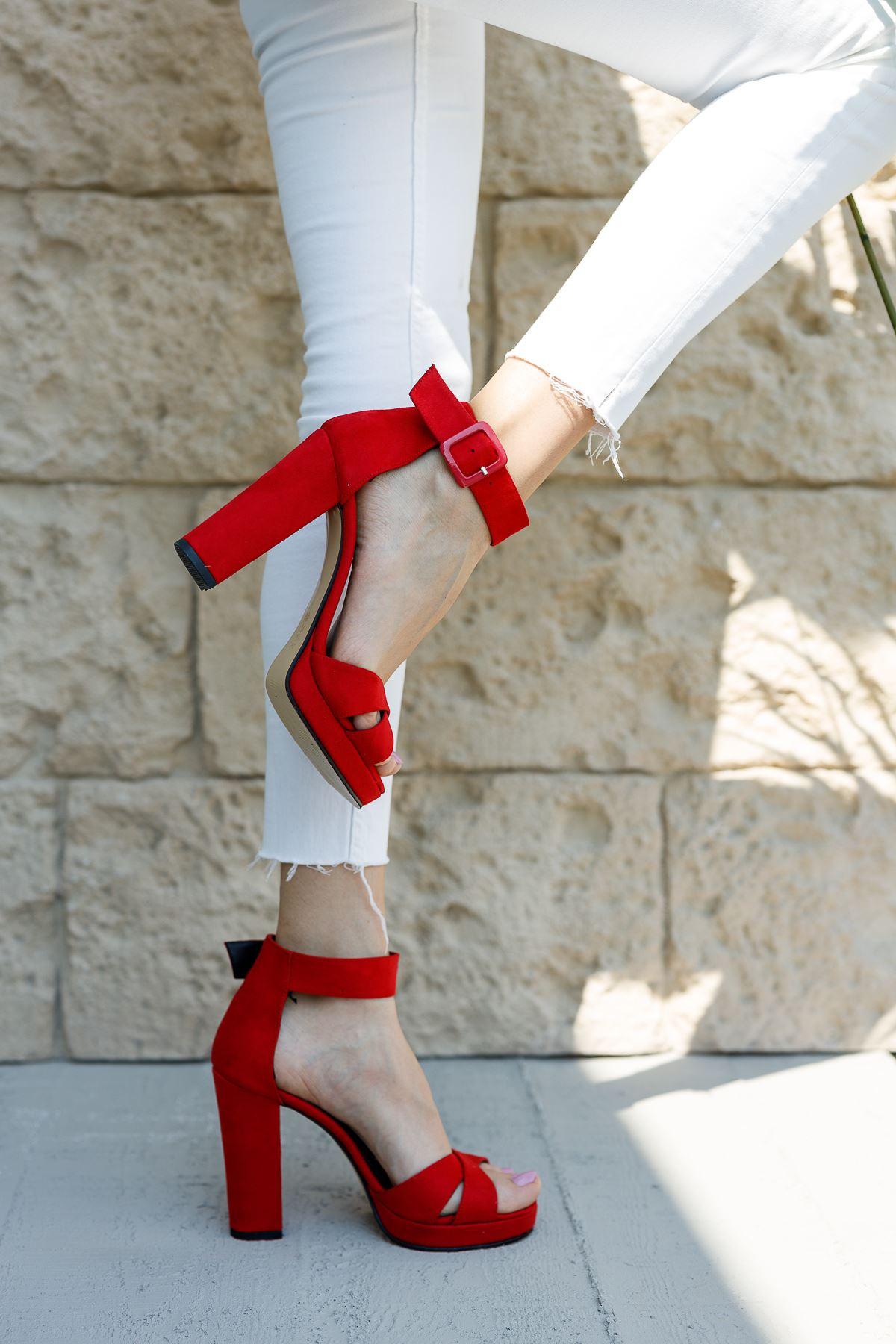 Kadın Loked Yüksek Topuklu Kırmızı Süet Tek Bant Ayakkabı Çapraz Bantlı