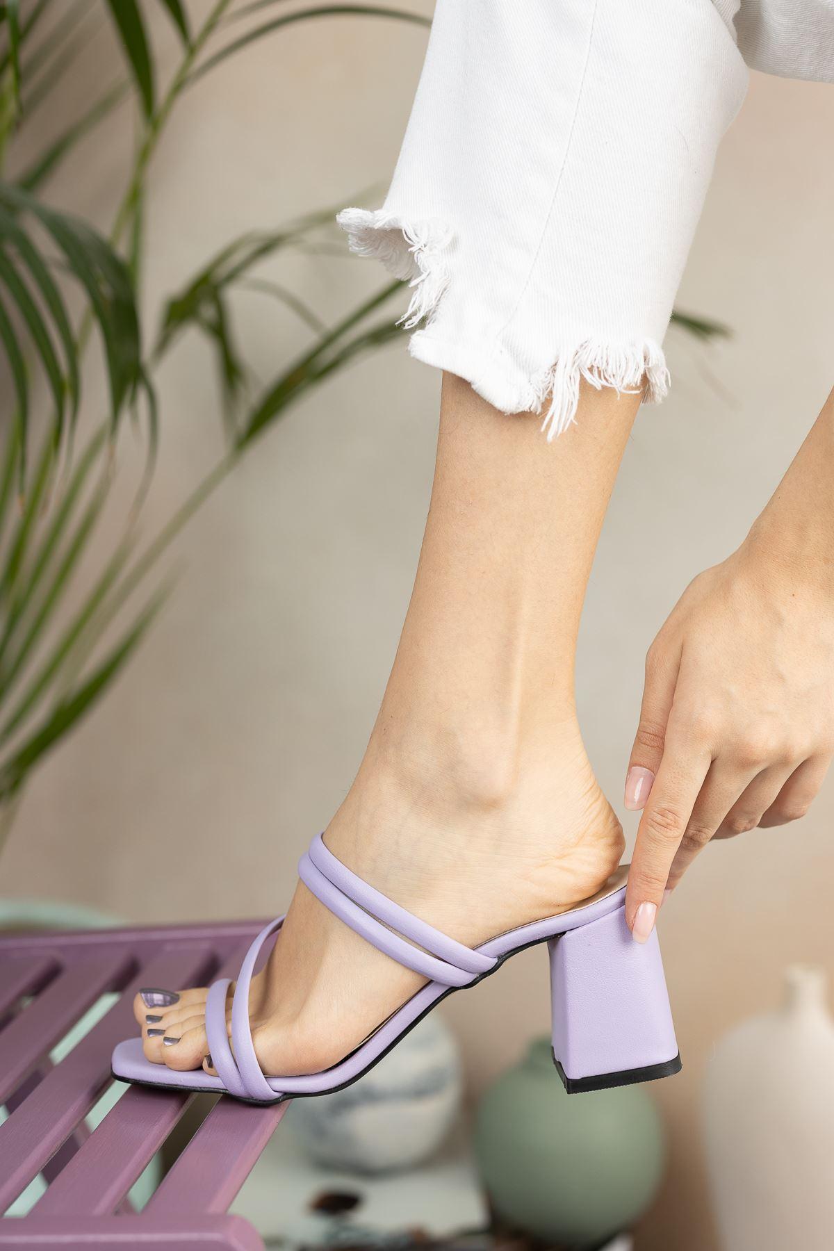 Kadın Elit Kısa Topuklu Mat Deri Lila Terlik