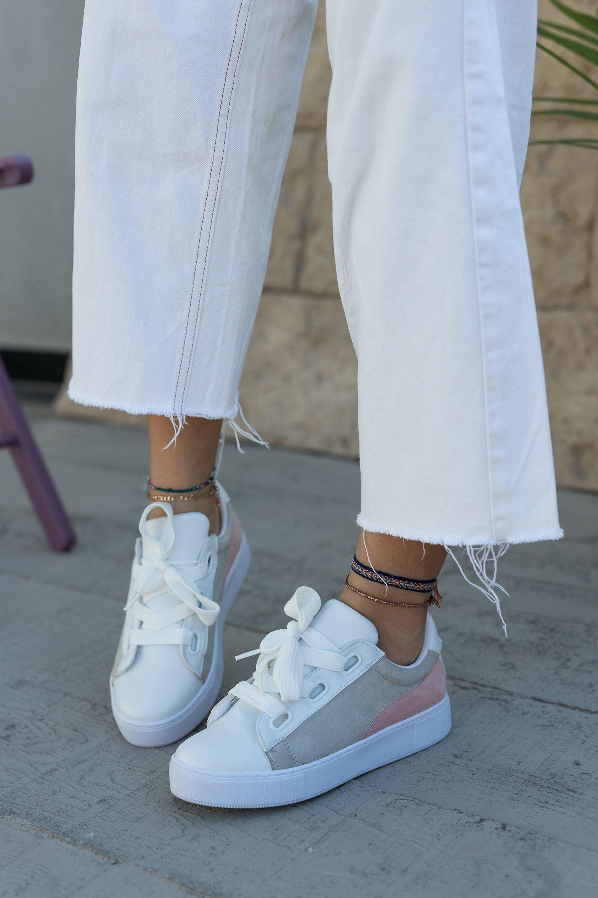 Kadın Polly Gri Detaylı Beyaz Spor Ayakkabı