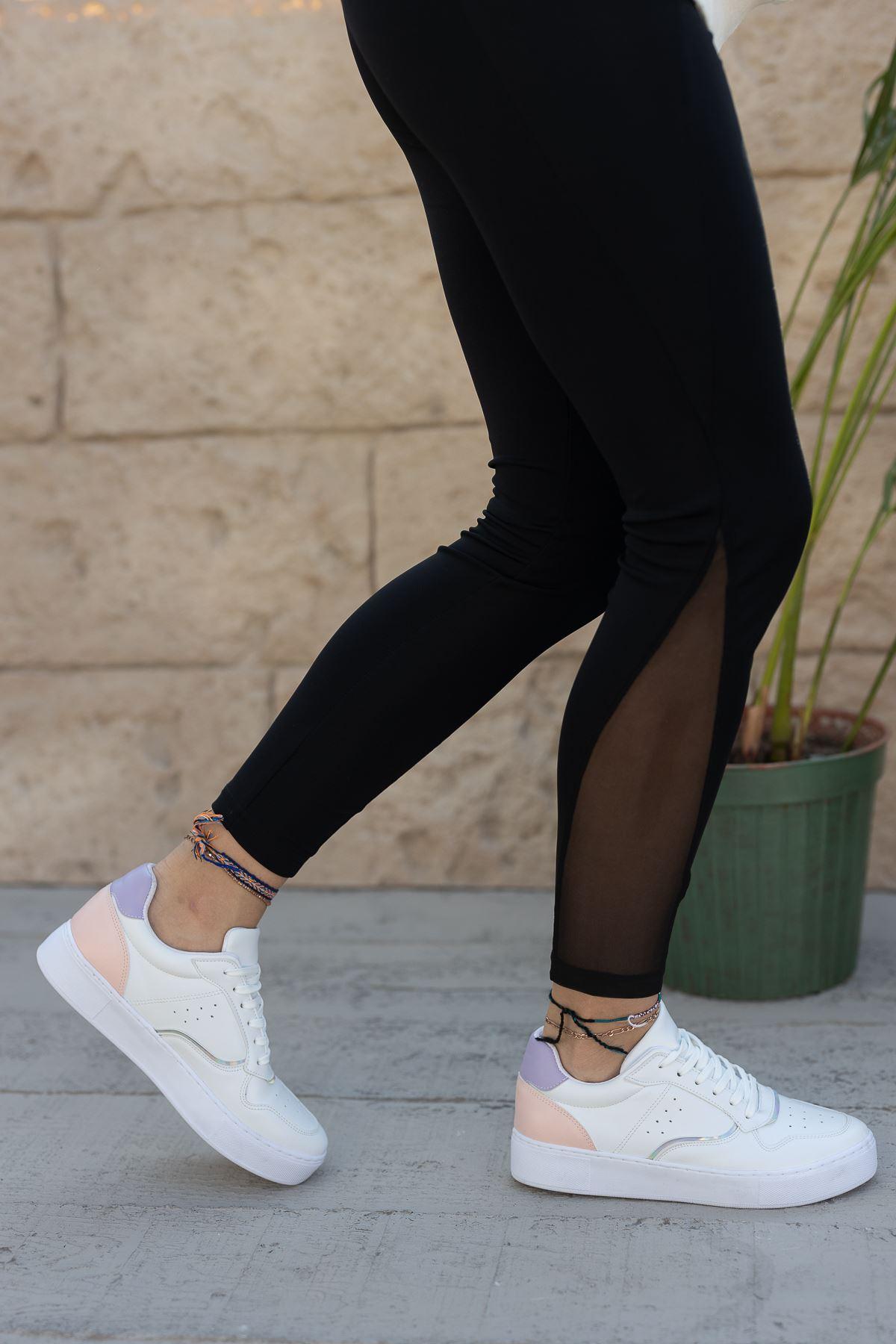 Kadın Ramy Pudra Detaylı Beyaz Spor Ayakkabı