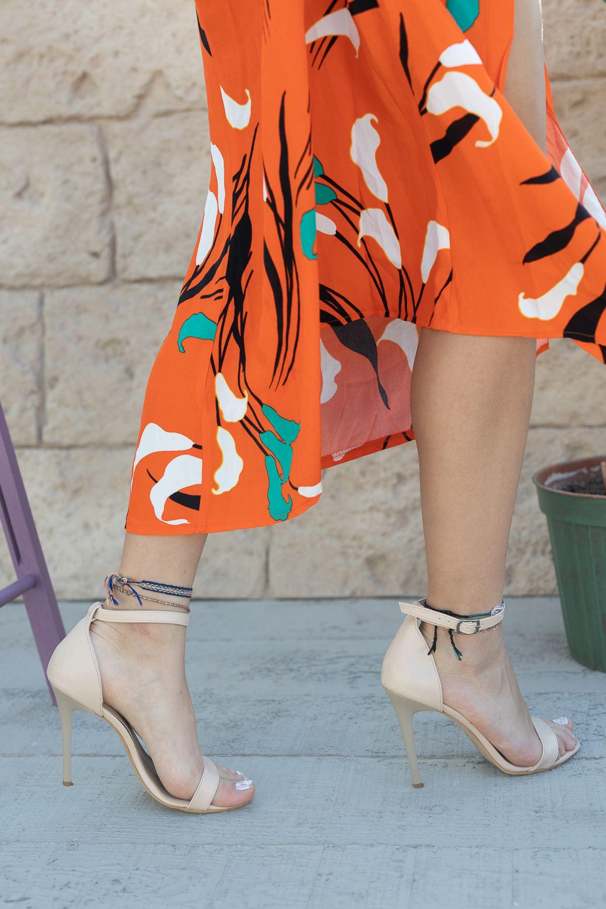 Kadın Aloha Ten Mat Deri İnce Topuklu Ayakkabı