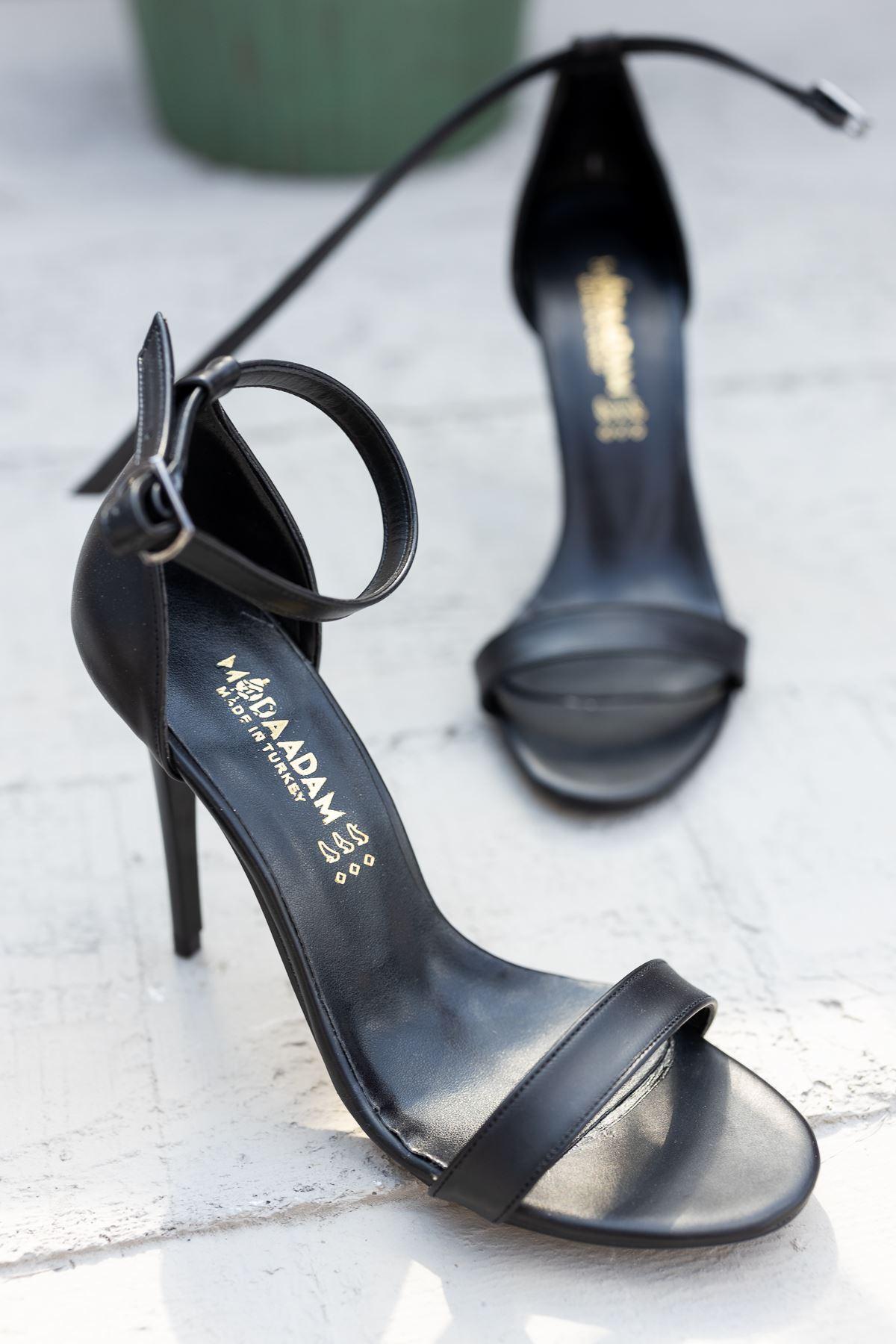 Kadın Aloha Siyah Mat Deri İnce Topuklu Ayakkabı