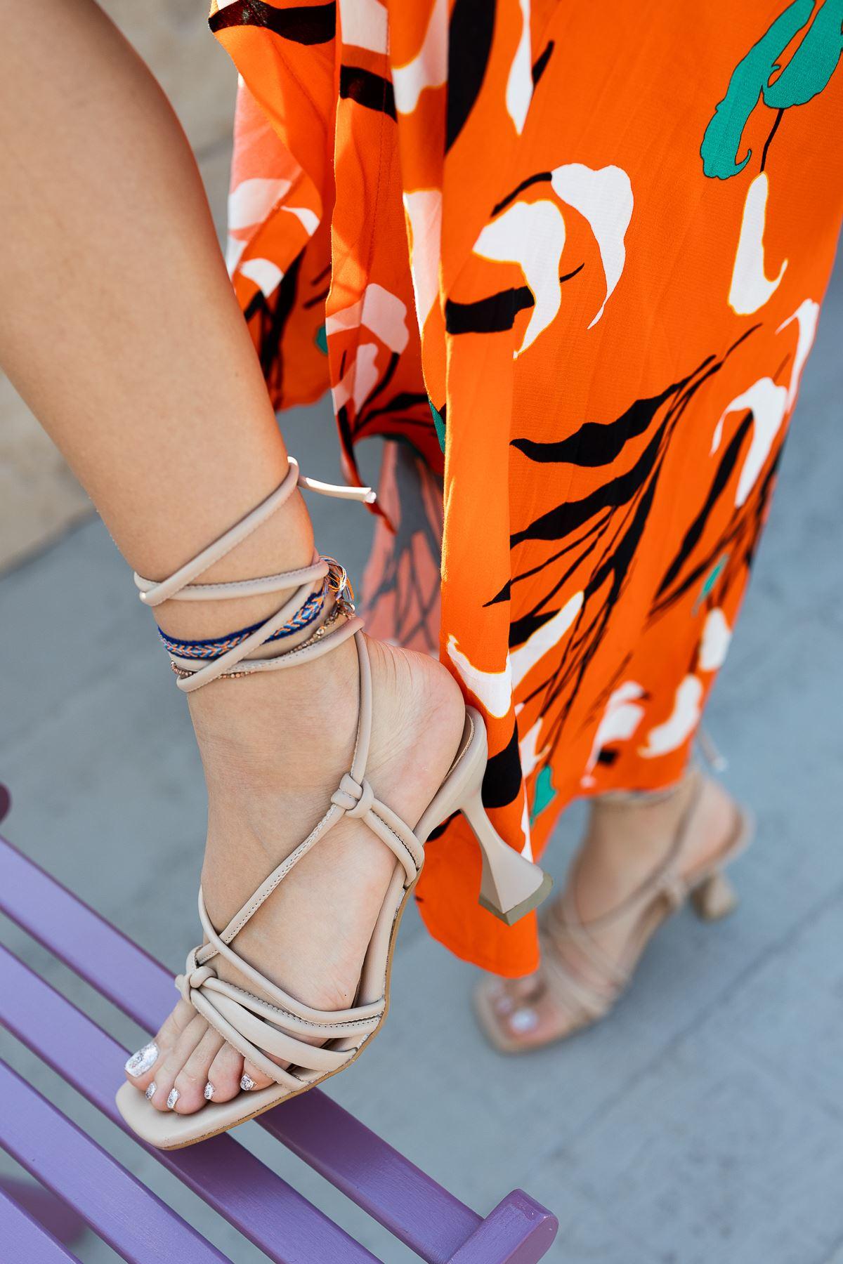 Kadın Vonder Mat Deri  Nude Bilekten Bağlama Detaylı Yüksek Topuklu Ayakkabı